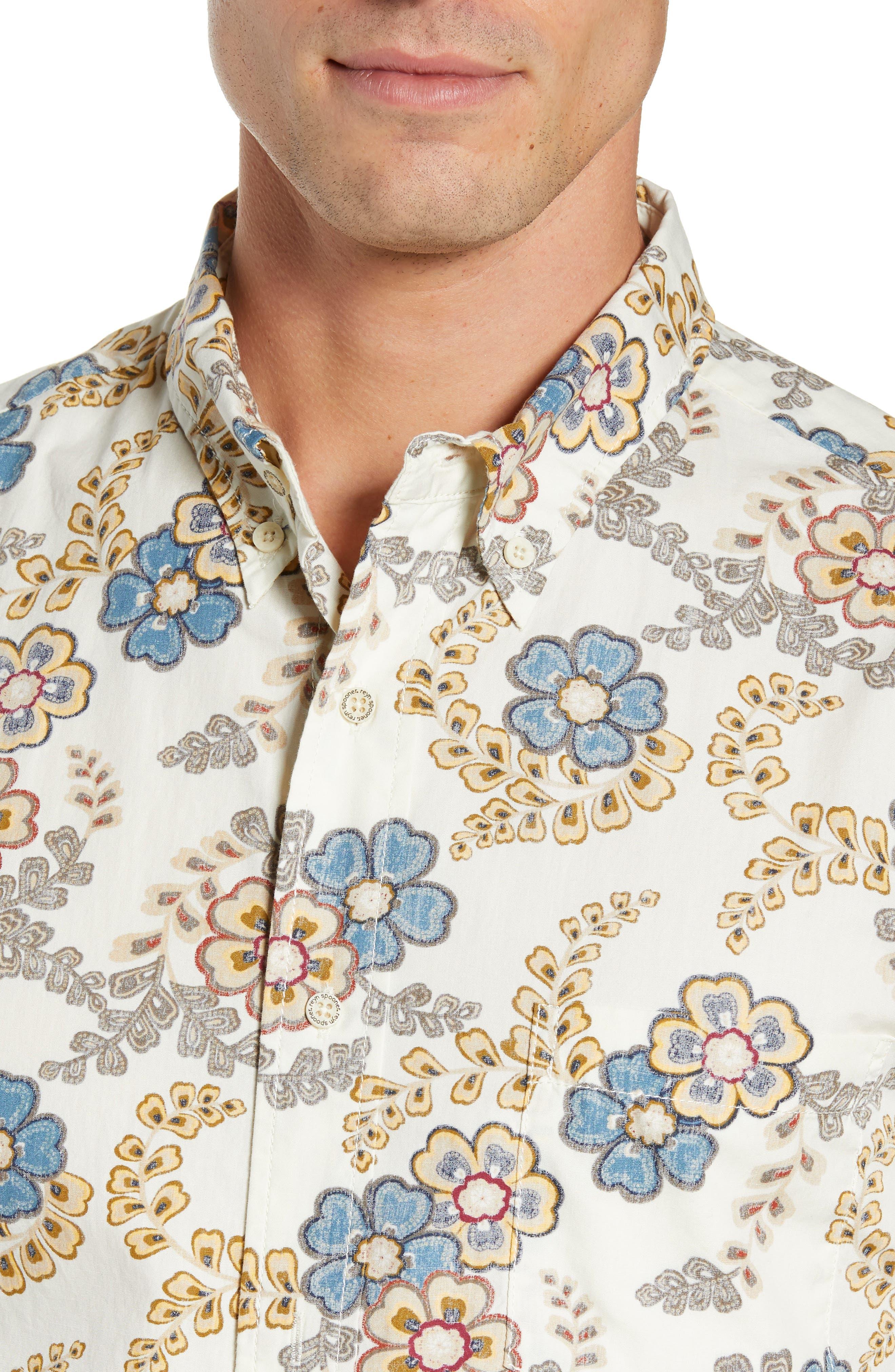 Regular Fit Furoshiki Floral Sport Shirt,                             Alternate thumbnail 2, color,                             NATURAL