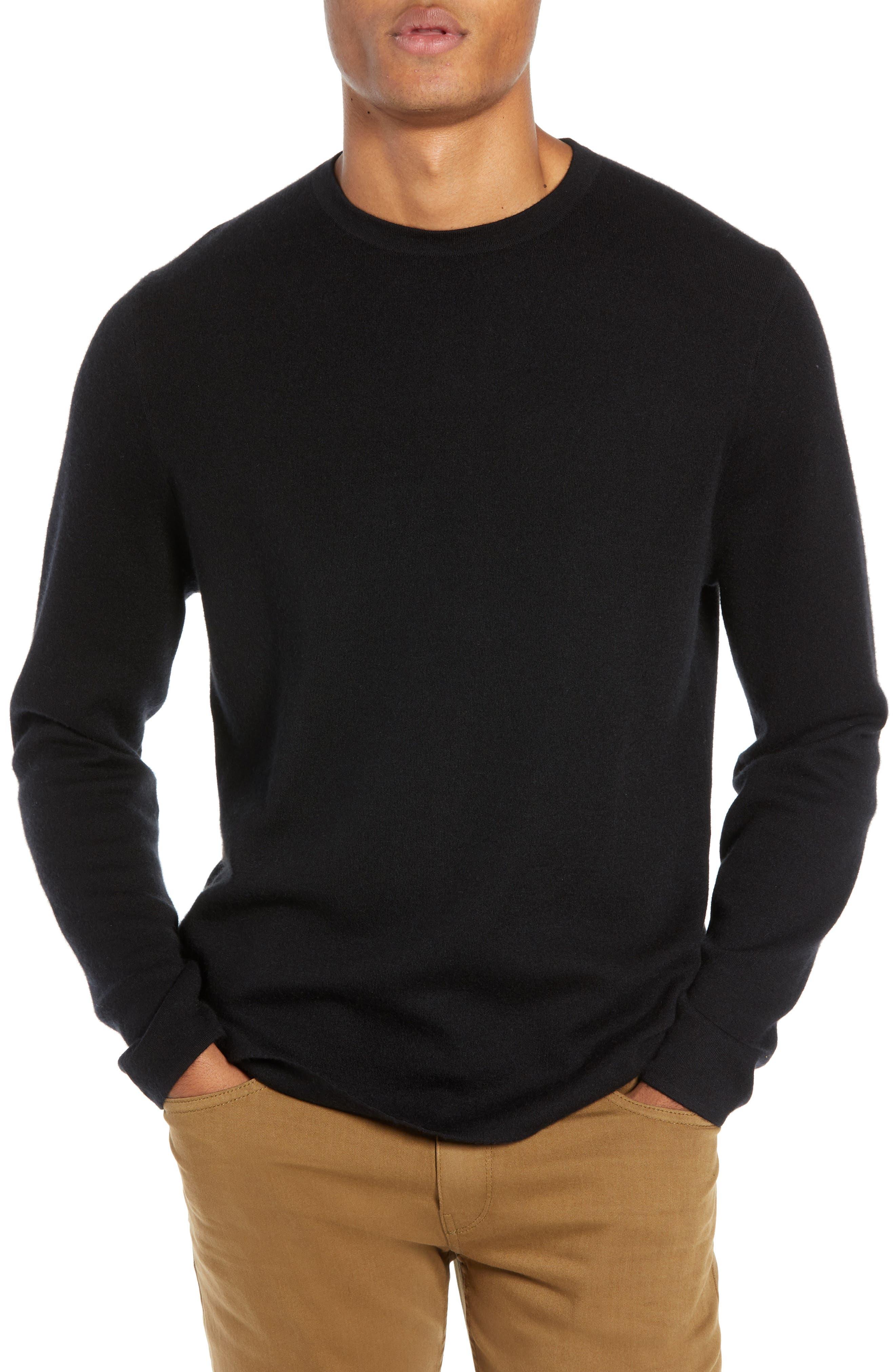 Crewneck Cashmere Sweater,                             Main thumbnail 1, color,                             BLACK CAVIAR