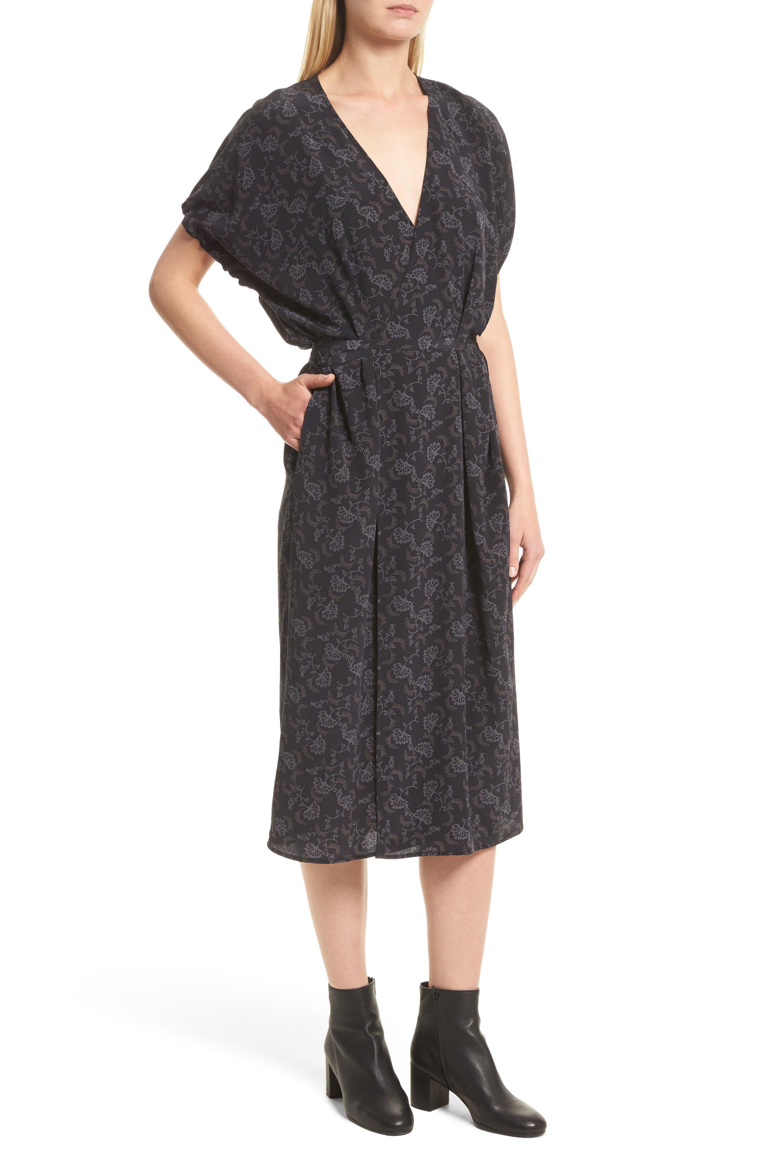 Floral Dot Kimono Silk Wrap Dress,                             Alternate thumbnail 4, color,                             001