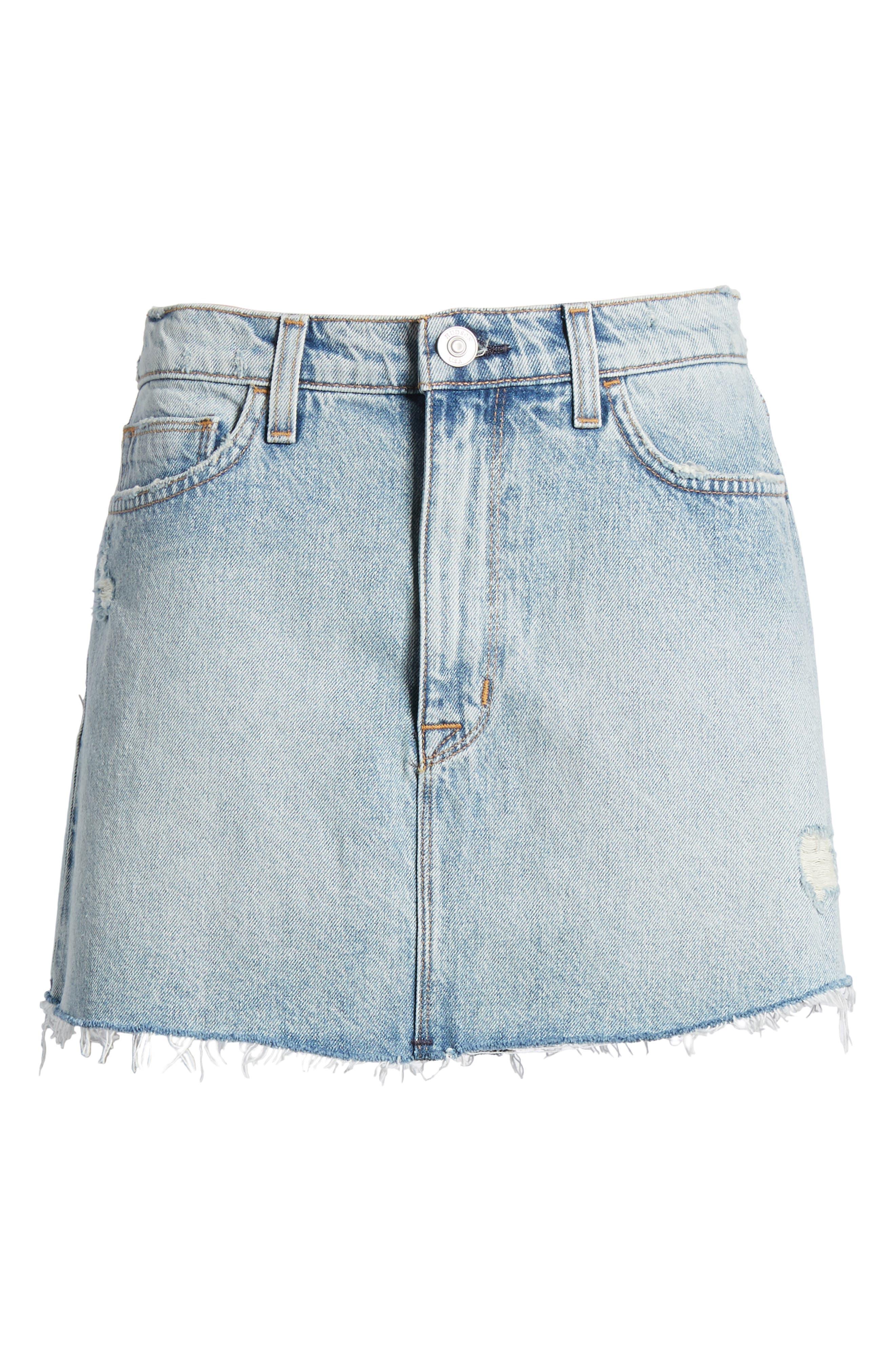 Vivid Cutoff Denim Miniskirt,                             Alternate thumbnail 7, color,                             453