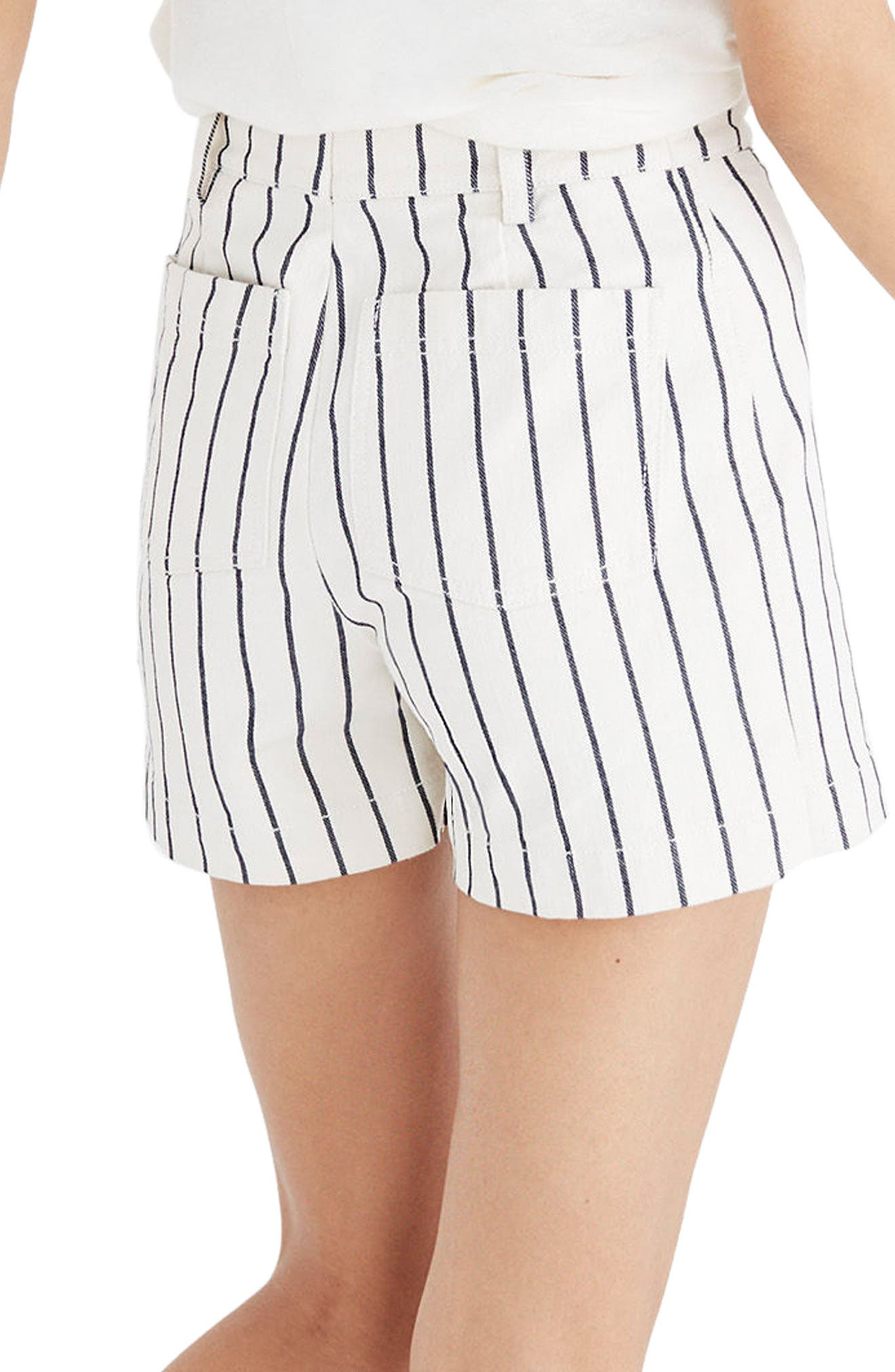 Emmett Stripe Button Front Shorts,                             Alternate thumbnail 2, color,                             100