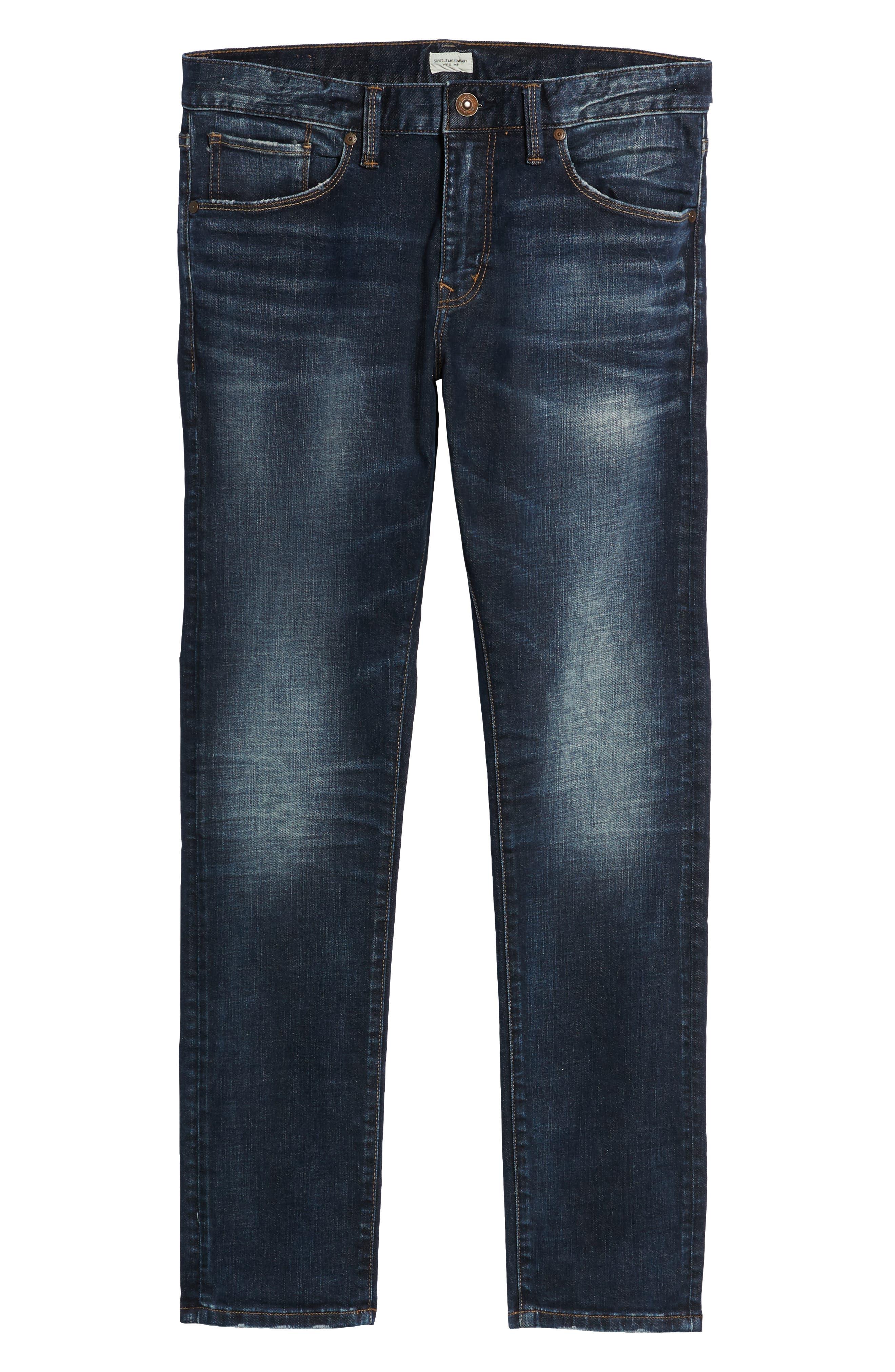 SILVER JEANS CO.,                             Ashdown Slim Straight Fit Jeans,                             Alternate thumbnail 7, color,                             INDIGO