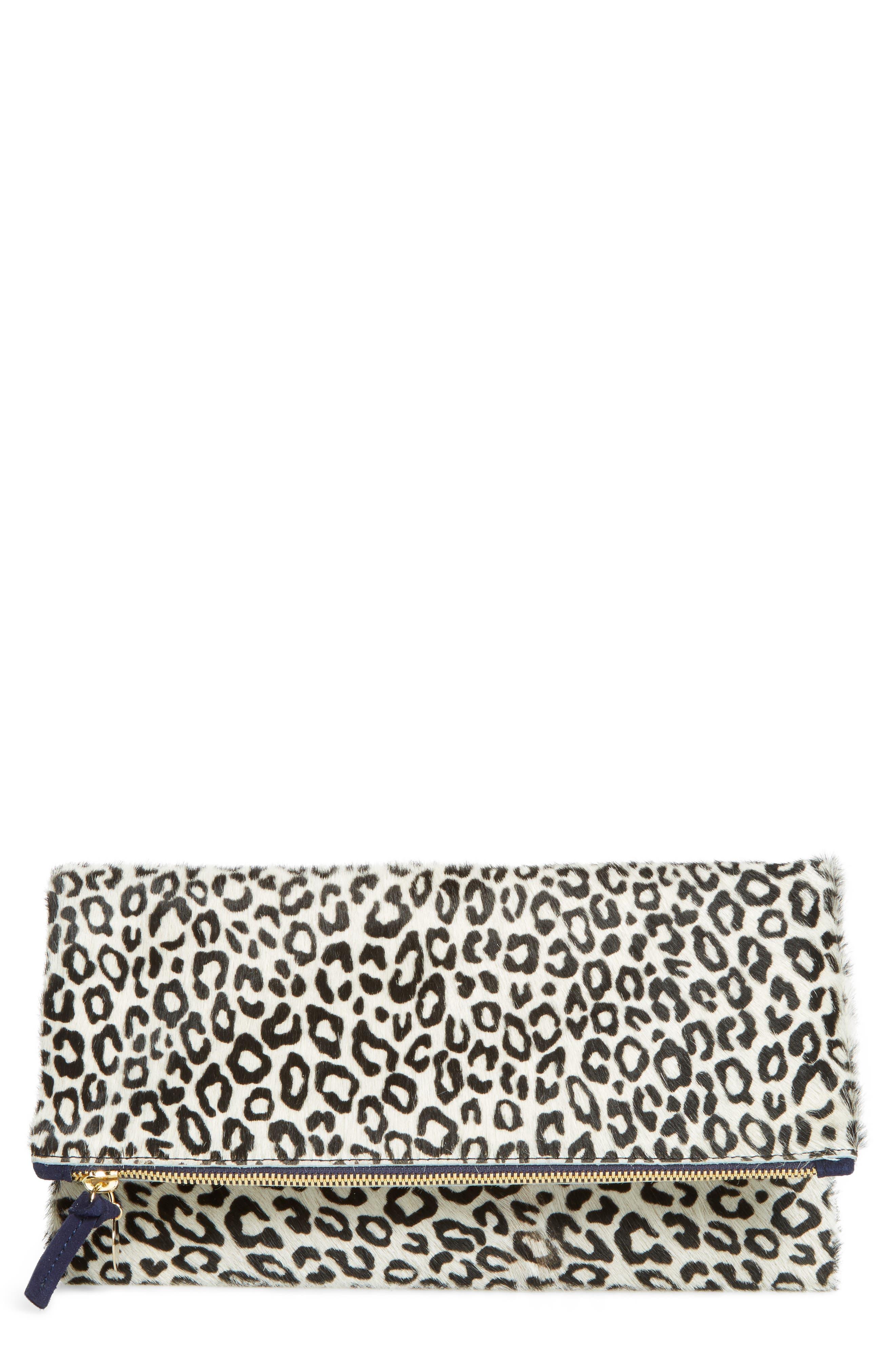 Ocelot Print Genuine Calf Hair Foldover Clutch,                             Main thumbnail 1, color,                             001
