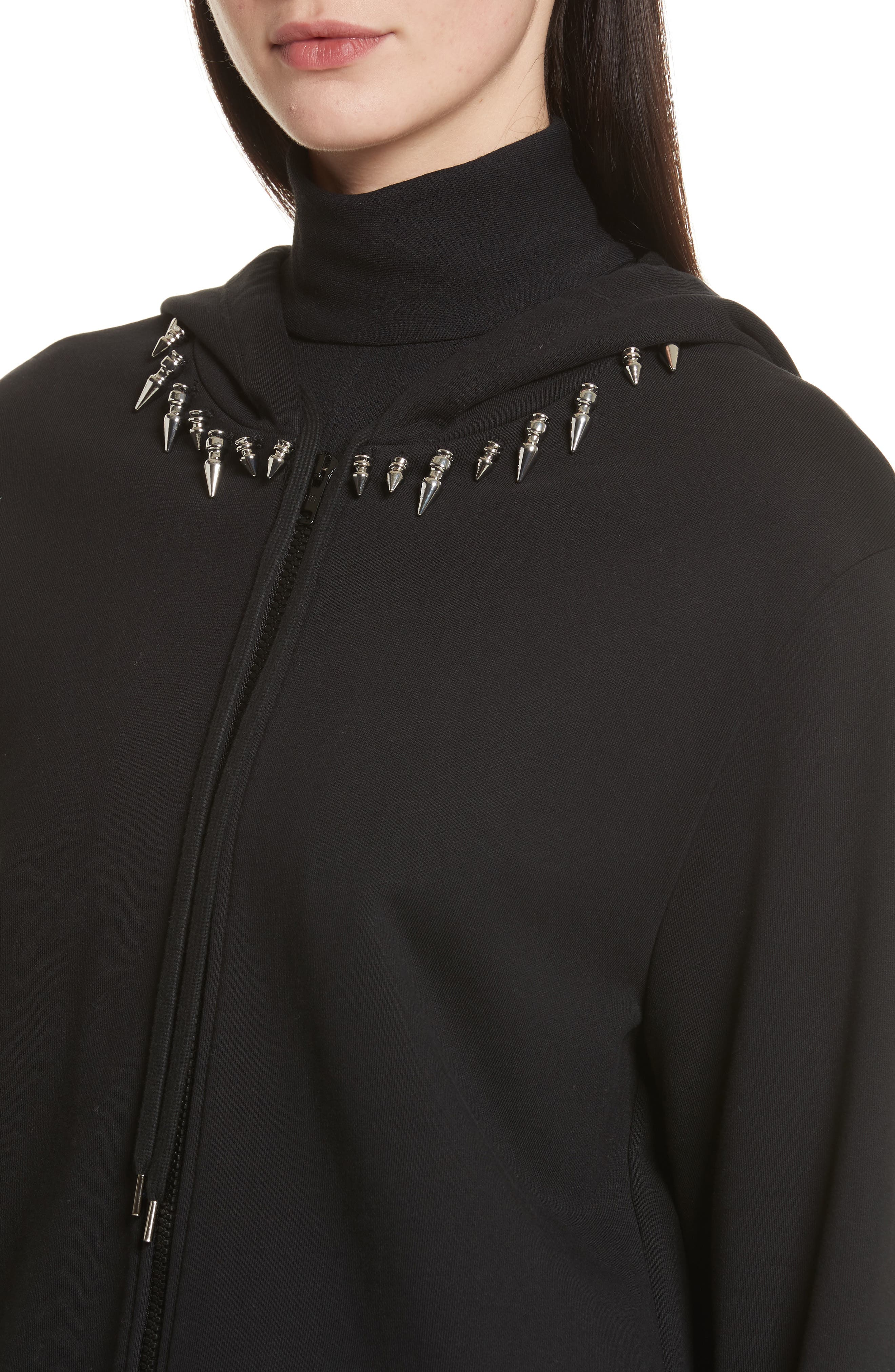 Re-Edition Stud Collar Hoodie,                             Alternate thumbnail 4, color,                             001