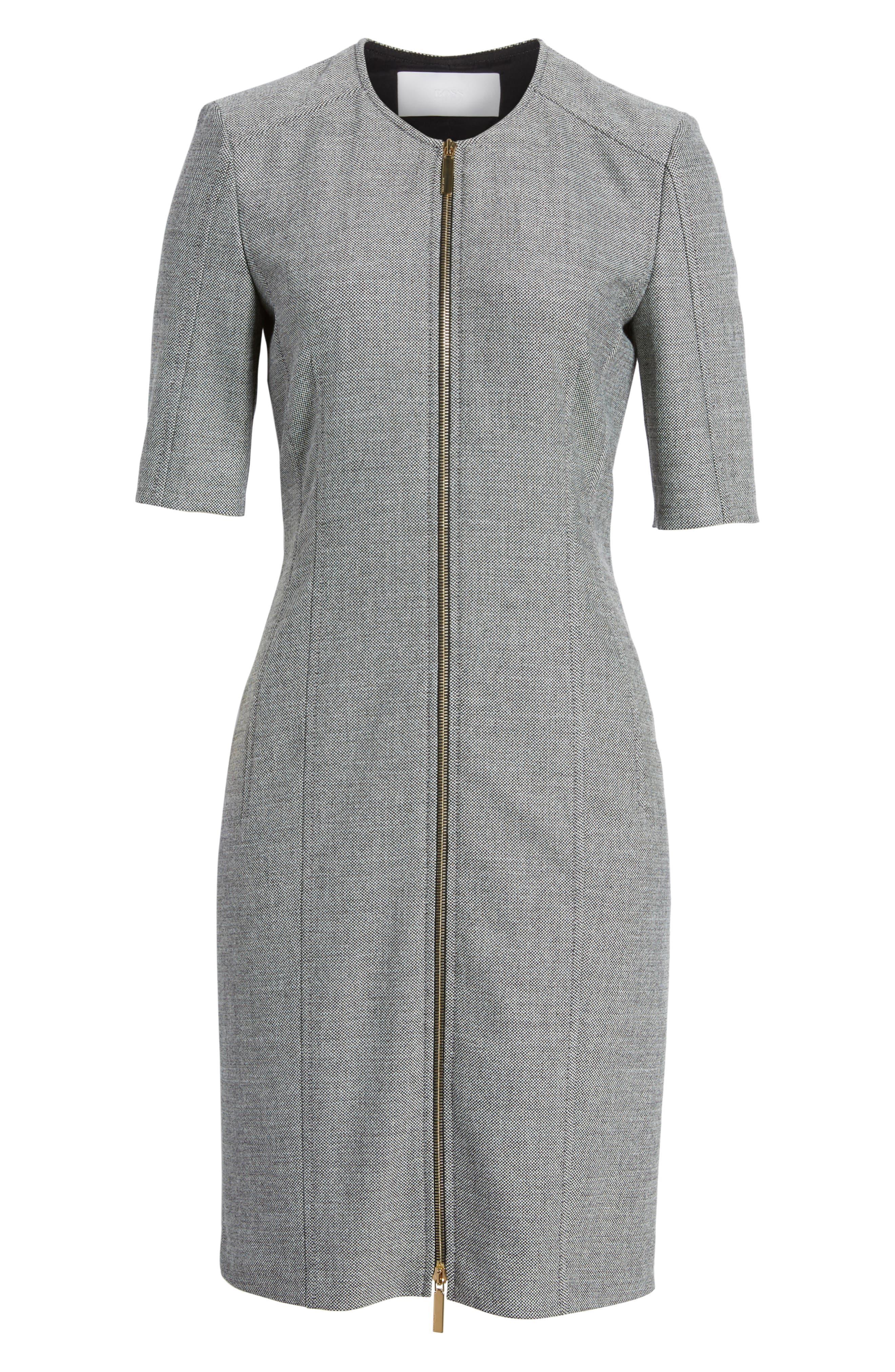 Demirana Zip Front Sheath Dress,                             Alternate thumbnail 6, color,