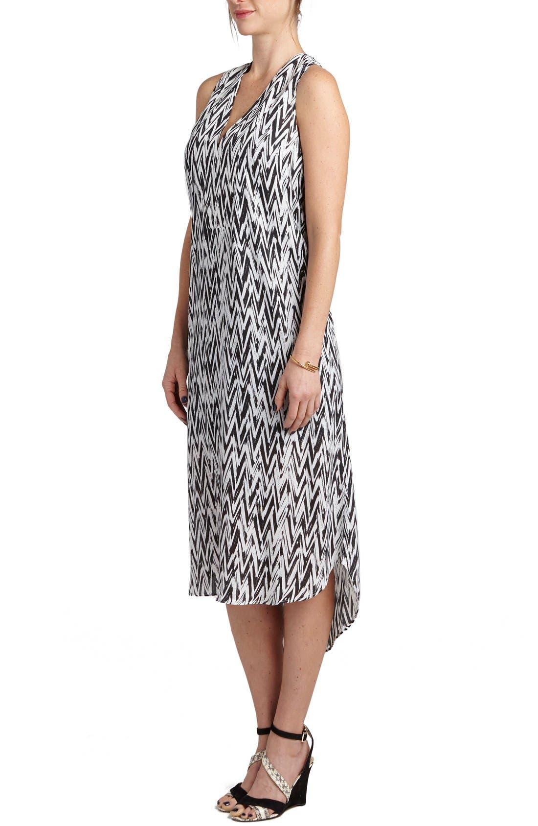 'January' Print Maternity/Nursing High/Low Dress,                             Alternate thumbnail 3, color,                             BLACK/ WHITE CHEVRON