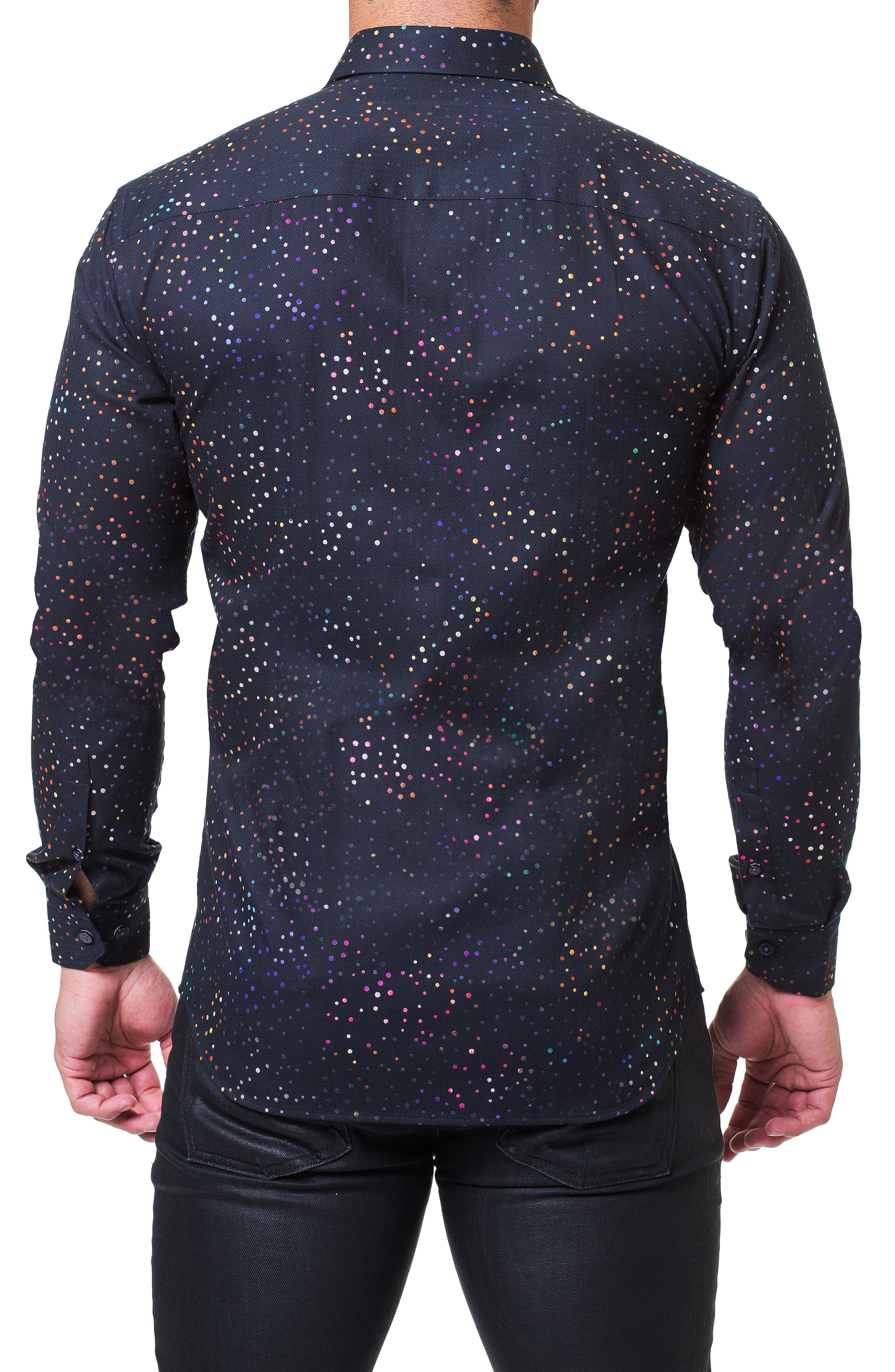 Fibonacci Celebration Trim Fit Sport Shirt,                             Alternate thumbnail 2, color,                             BLACK