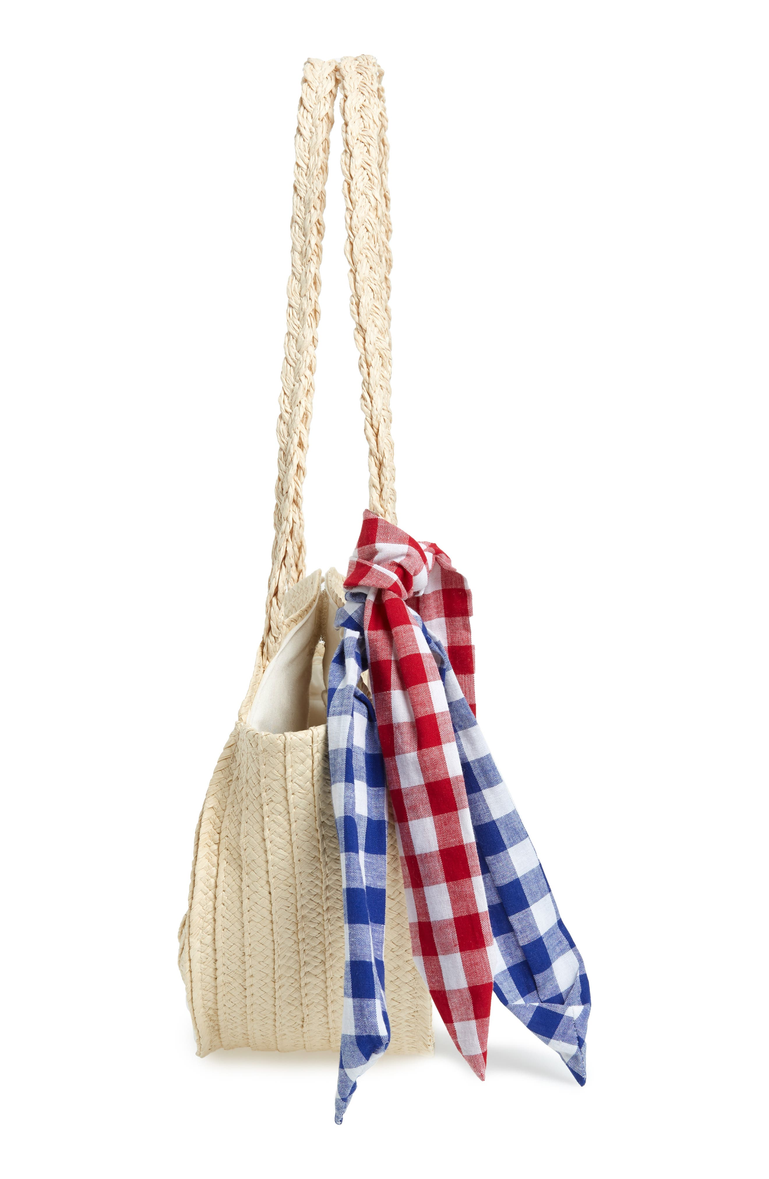 Straw Tote,                             Alternate thumbnail 4, color,                             BEIGE SWAN