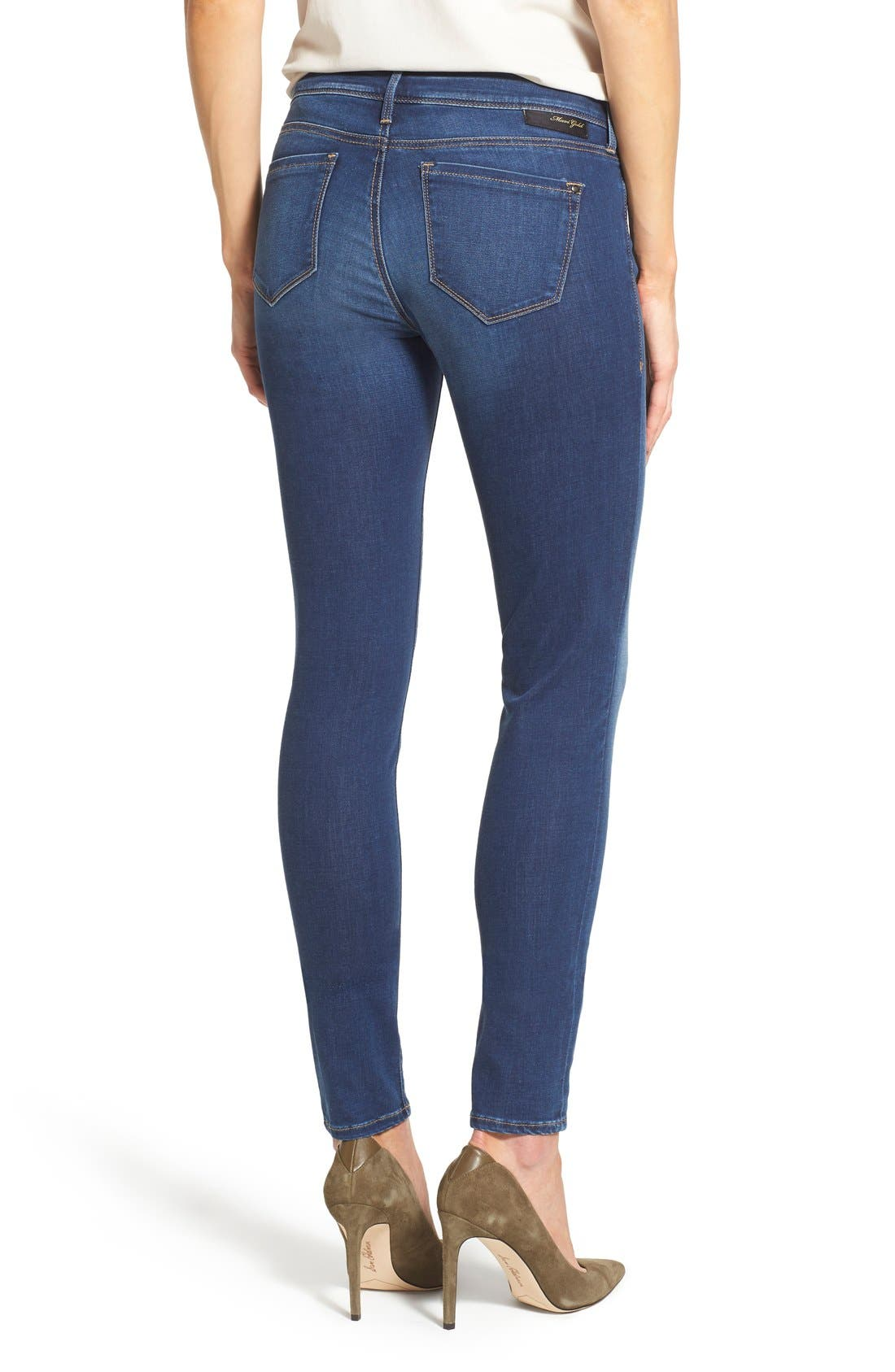 Gold 'Adriana' Stretch Super Skinny Jeans,                             Alternate thumbnail 2, color,                             401