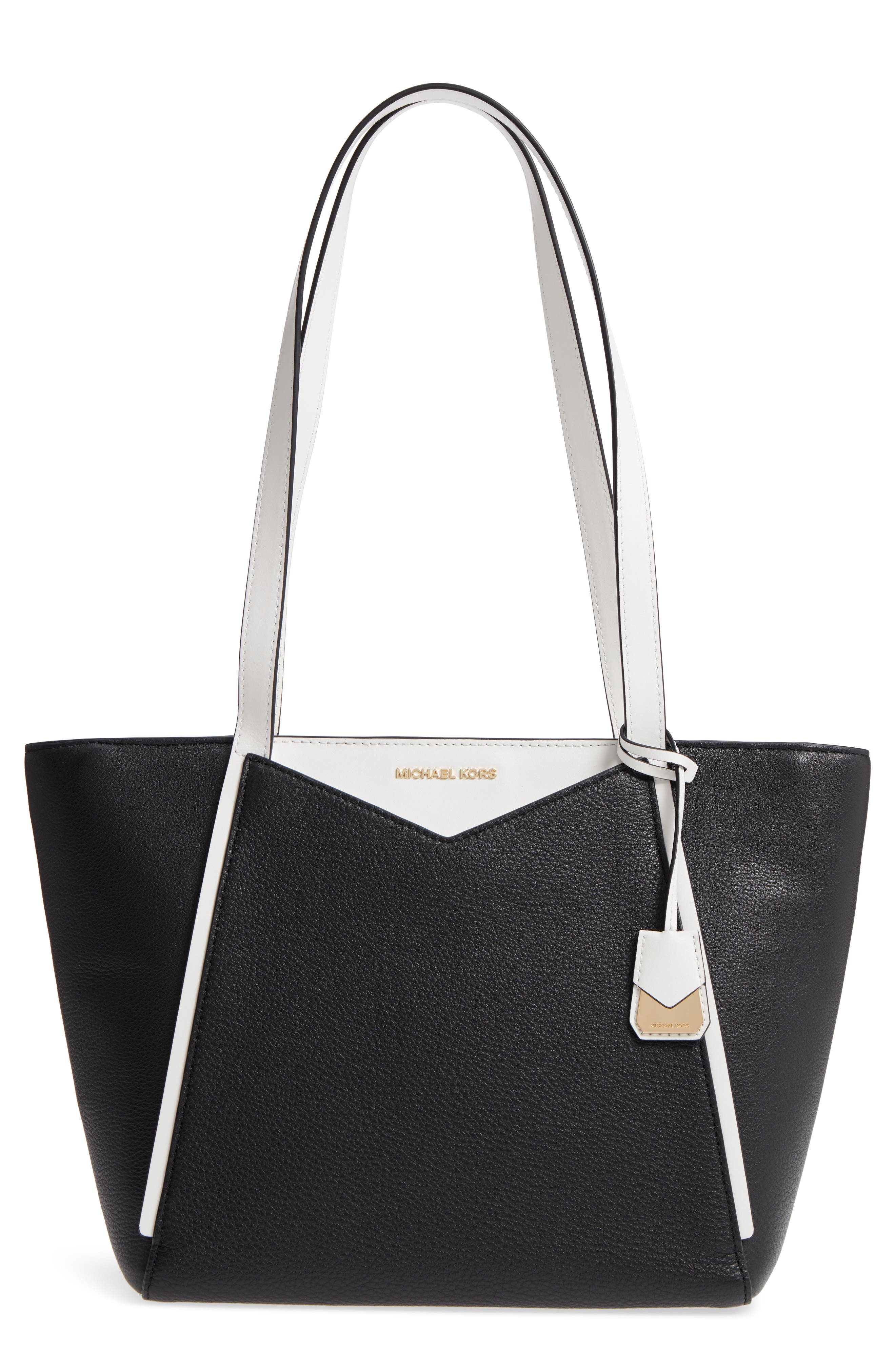 Small Whitney Leather Tote,                         Main,                         color, 001
