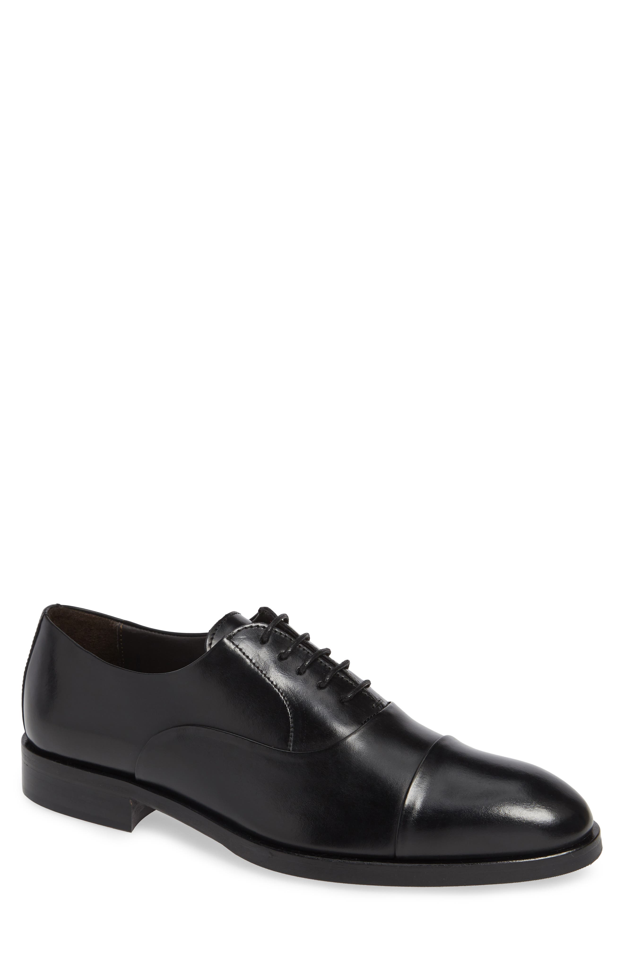 TO BOOT NEW YORK Men'S Hudson Leather Cap-Toe Oxfords in Black Leather