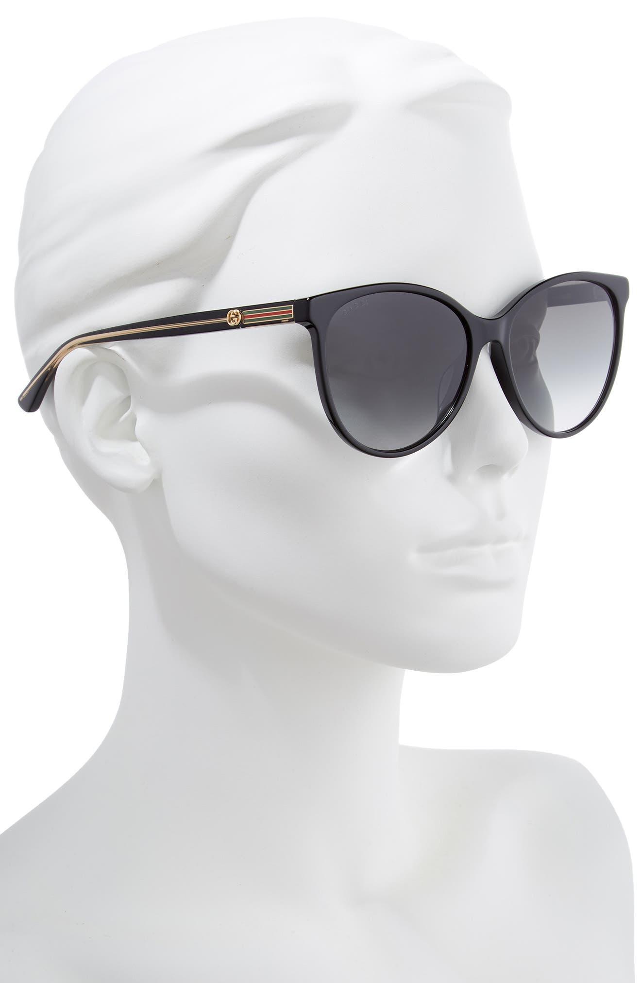 GUCCI,                             57mm Cat Eye Sunglasses,                             Alternate thumbnail 2, color,                             BLACK/ CRYSTAL/ GREY GRADIENT
