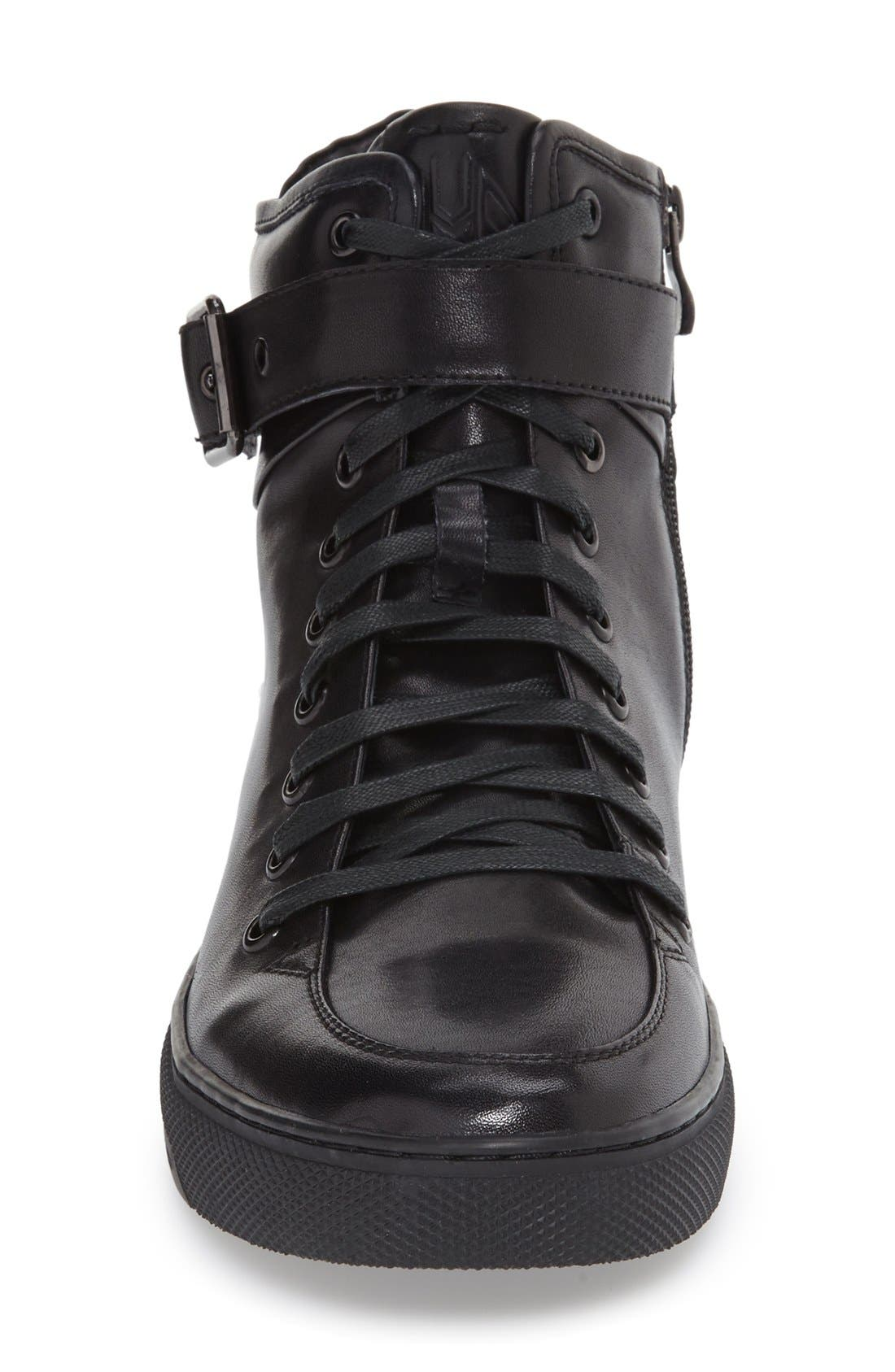 Sullivan High Top Sneaker,                             Alternate thumbnail 3, color,                             BLACK LEATHER