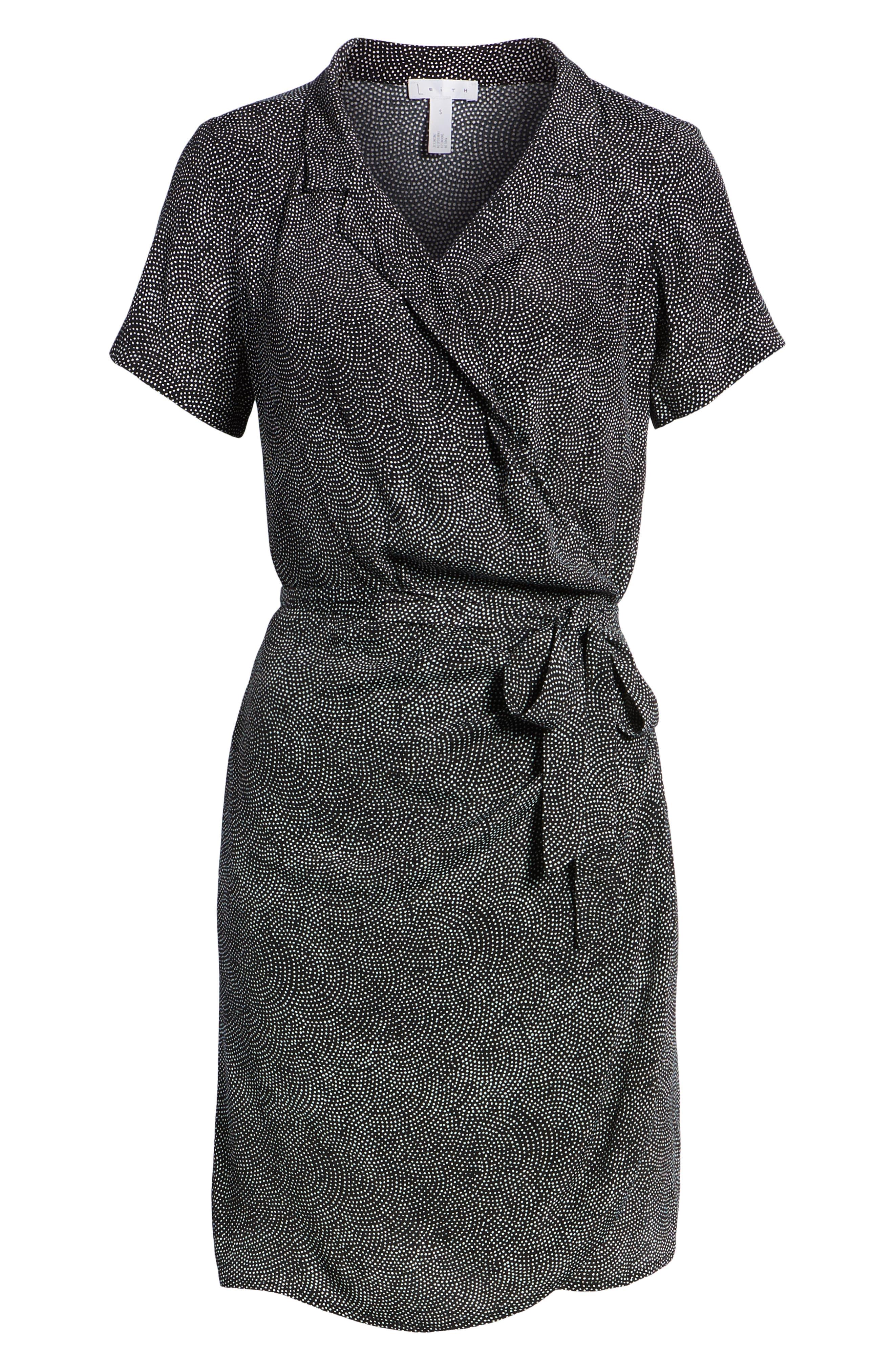 Print Wrap Dress,                             Alternate thumbnail 7, color,                             BLACK CONFETTI PARTY