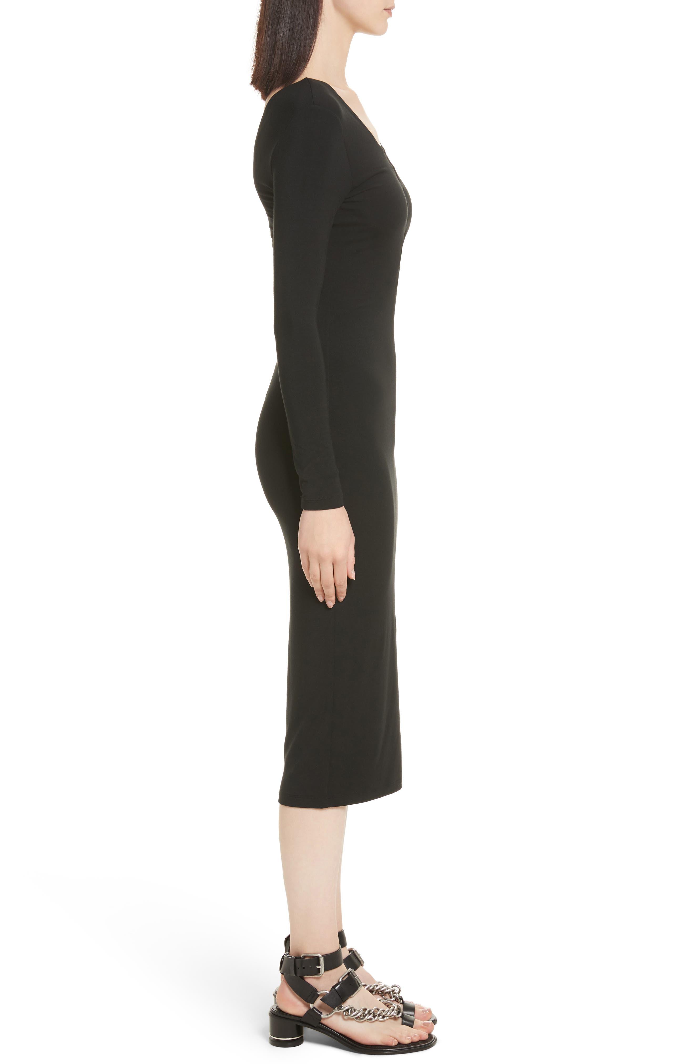 Lace-Up Stretch Jersey Midi Dress,                             Alternate thumbnail 3, color,                             001