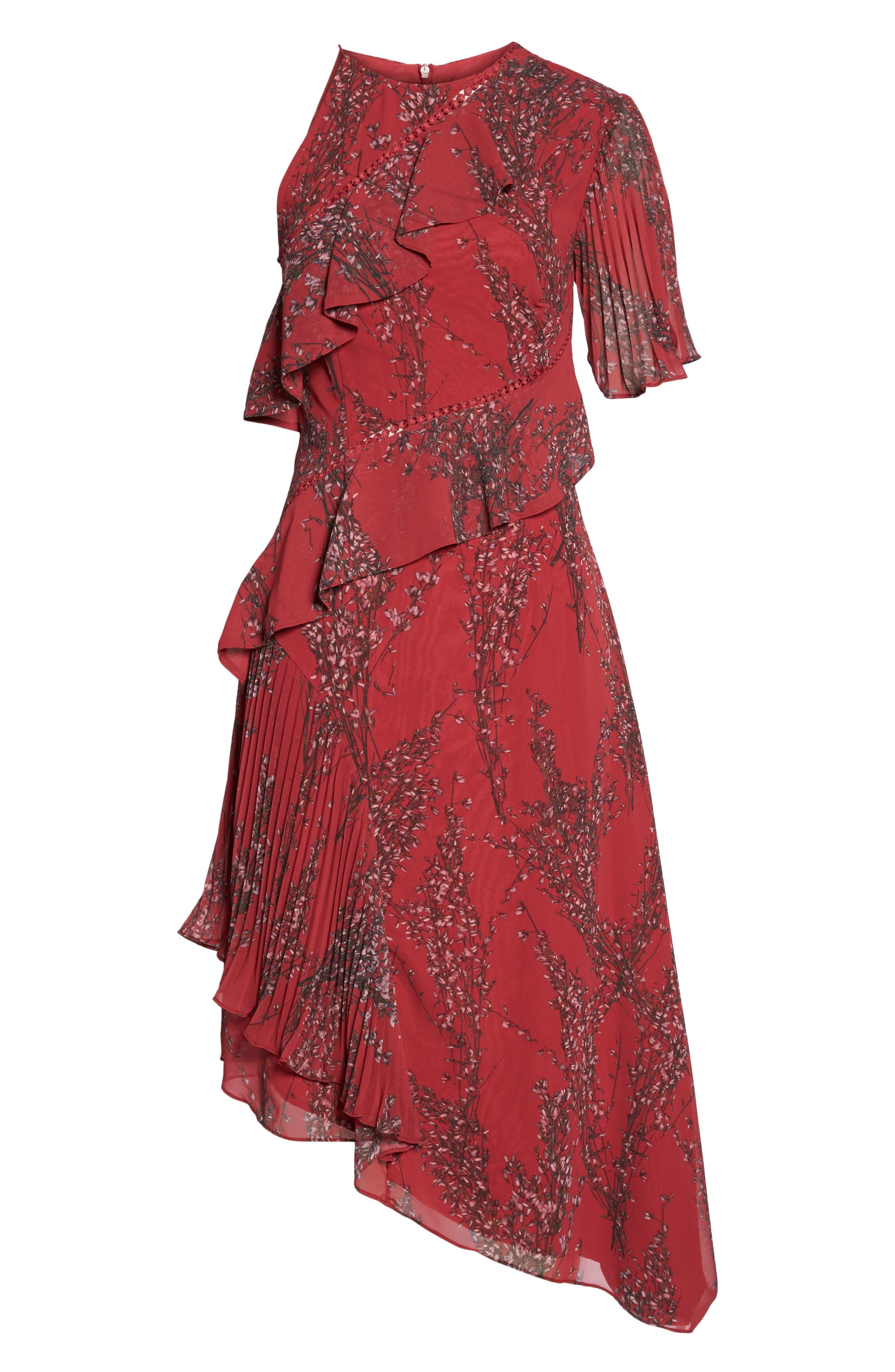 Asymmetrical Ruffle Dress,                             Alternate thumbnail 7, color,                             622
