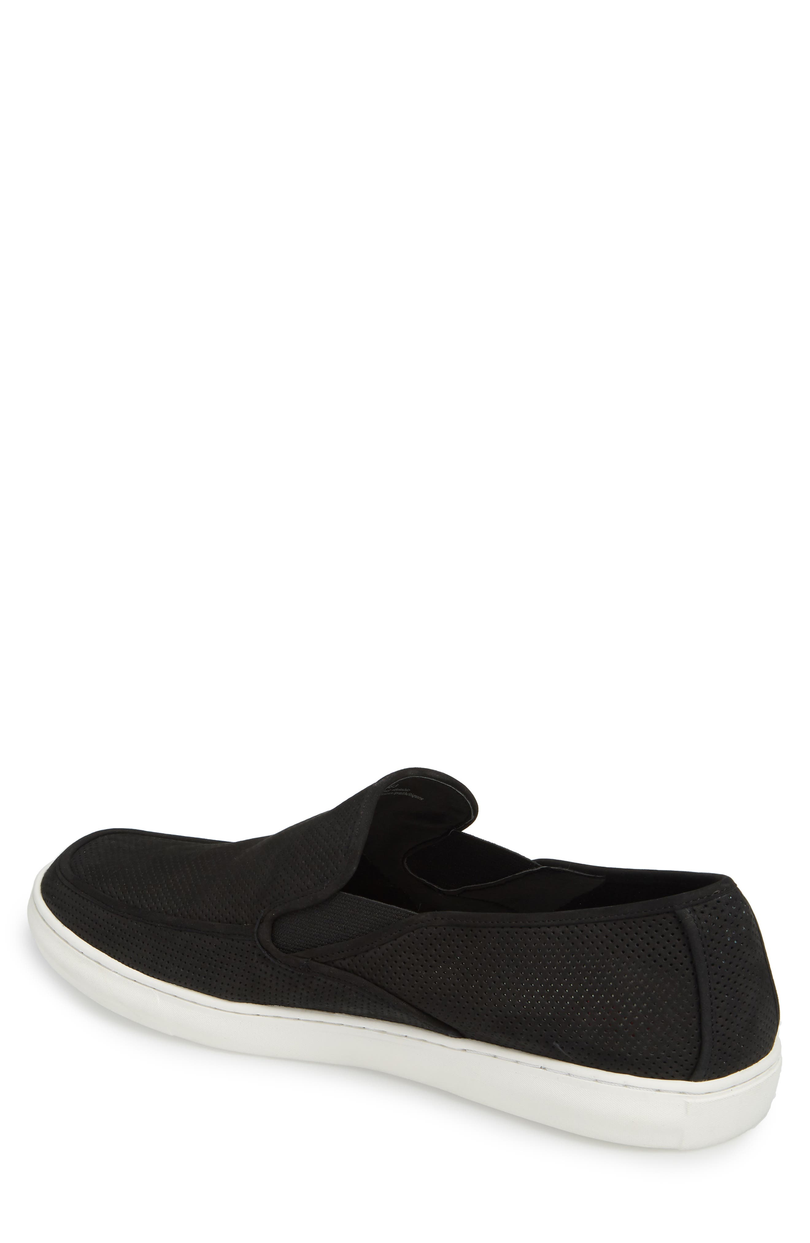 'Venice' Perforated Suede Slip-On,                             Alternate thumbnail 2, color,                             BLACK NUBUCK