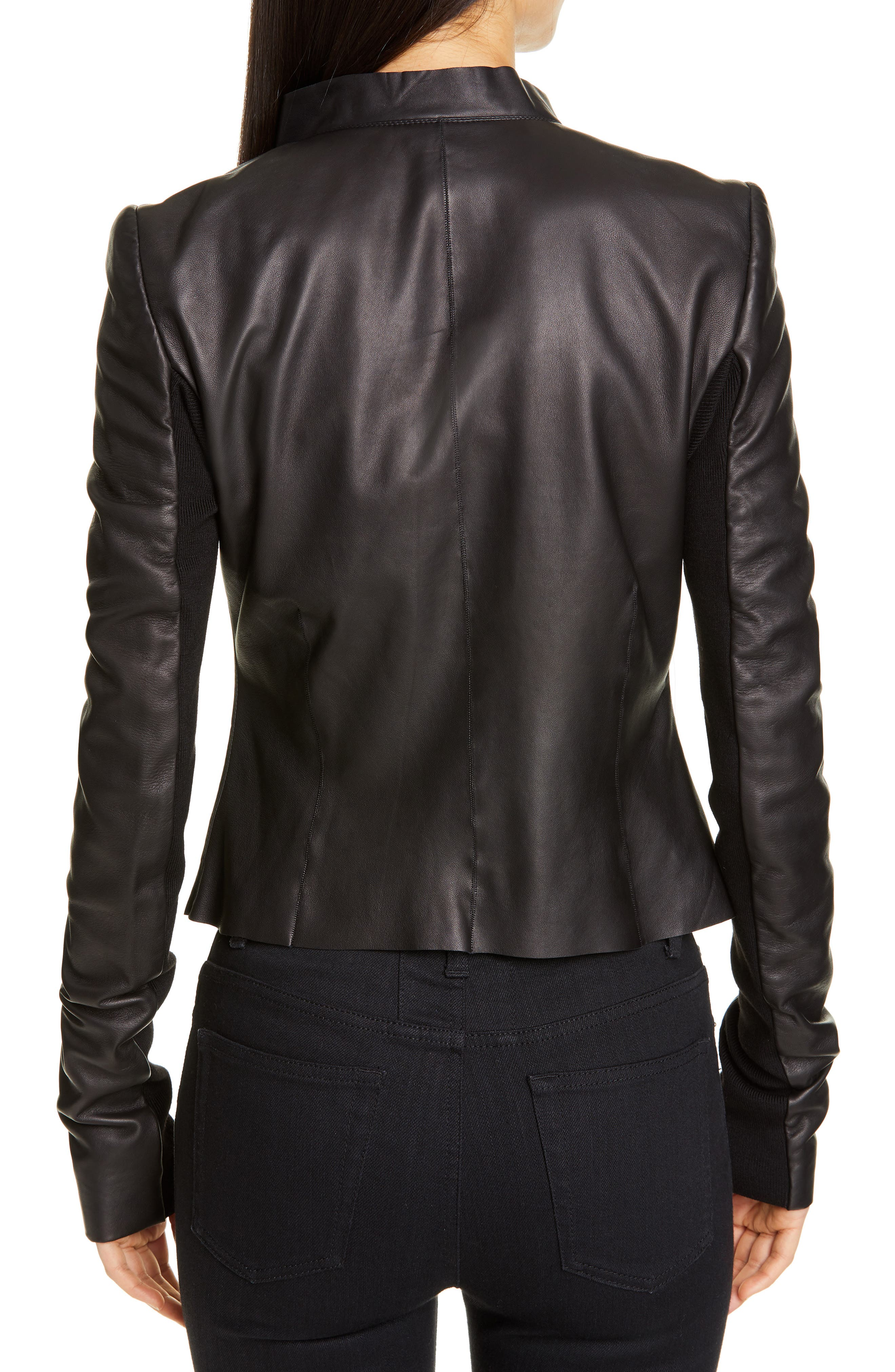RICK OWENS,                             Embroidered Leather Biker Jacket,                             Alternate thumbnail 2, color,                             BLACK PEARL