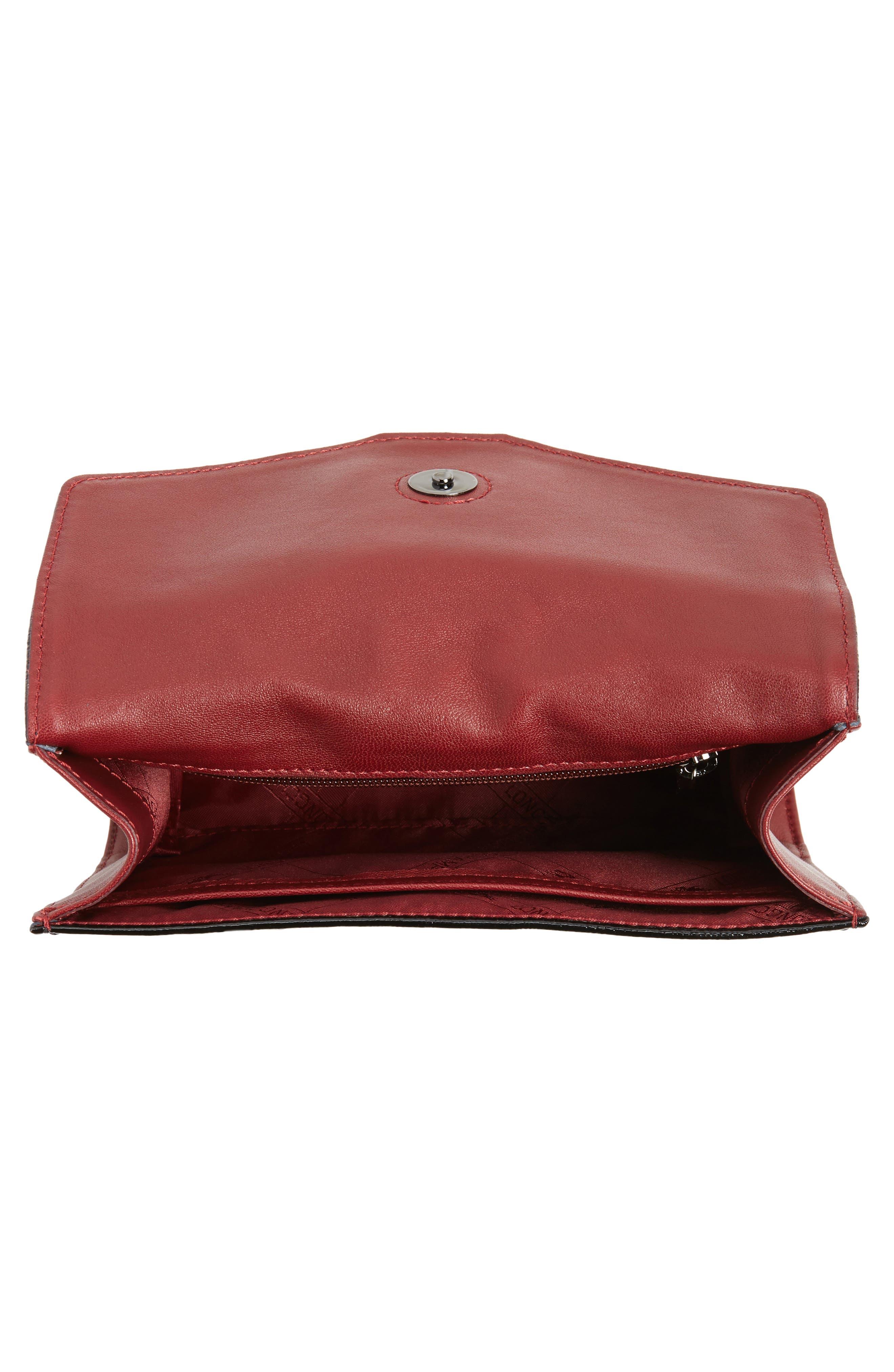 La Baronne Genuine Shearling Trim Leather Clutch,                             Alternate thumbnail 4, color,