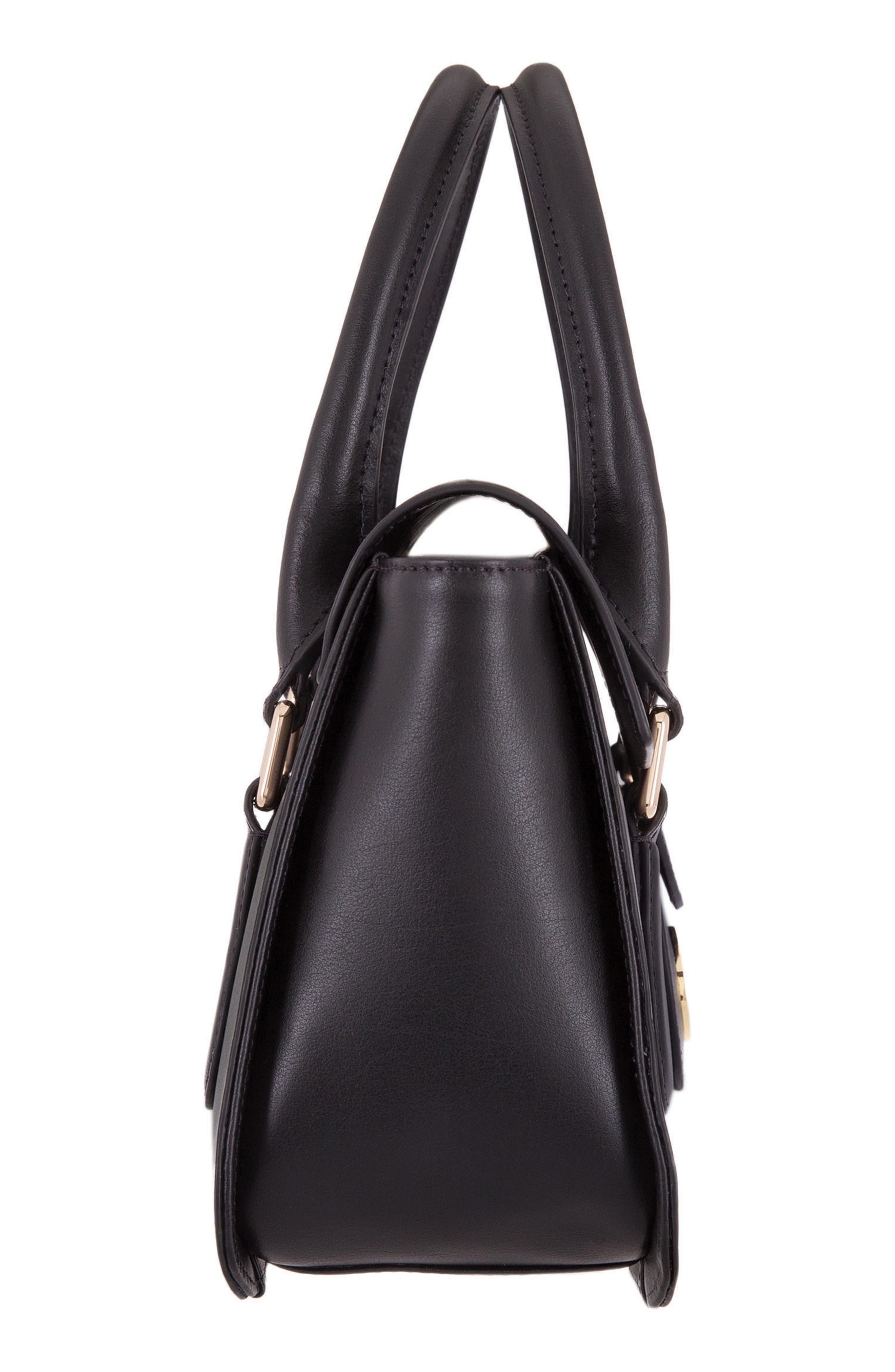Rodeo Under Lock & Key – Kesha RFID Leather Satchel,                             Alternate thumbnail 4, color,                             BLACK