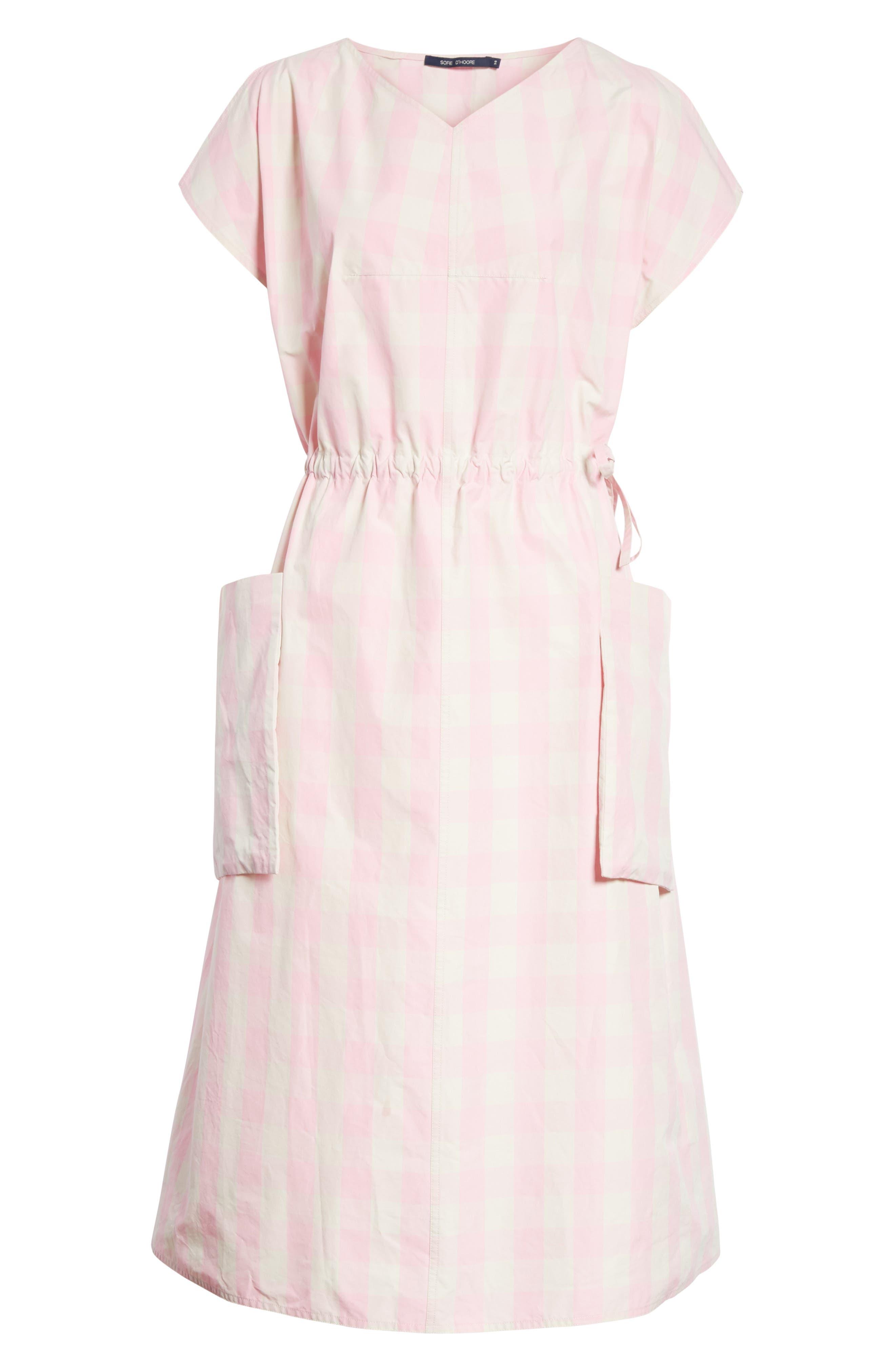 Gathered Waist Gingham Dress,                             Alternate thumbnail 6, color,                             650