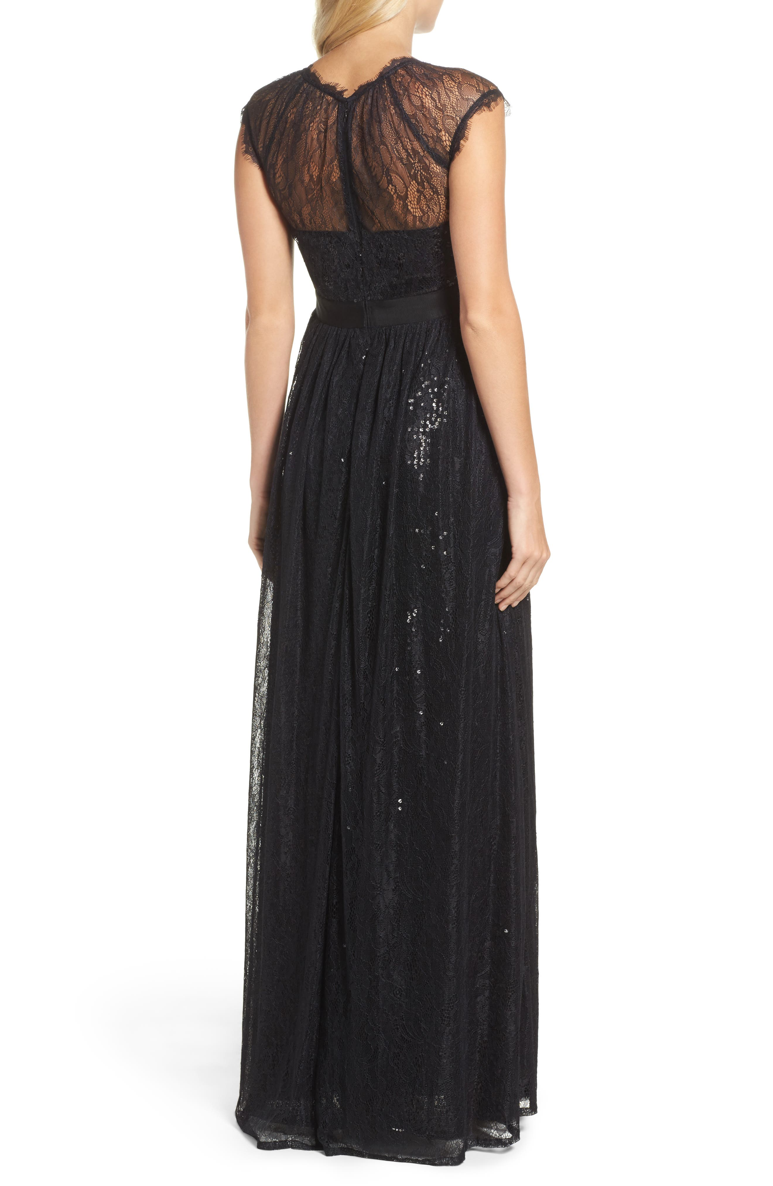 Sequin Chantilly Lace Gown,                             Alternate thumbnail 2, color,                             002
