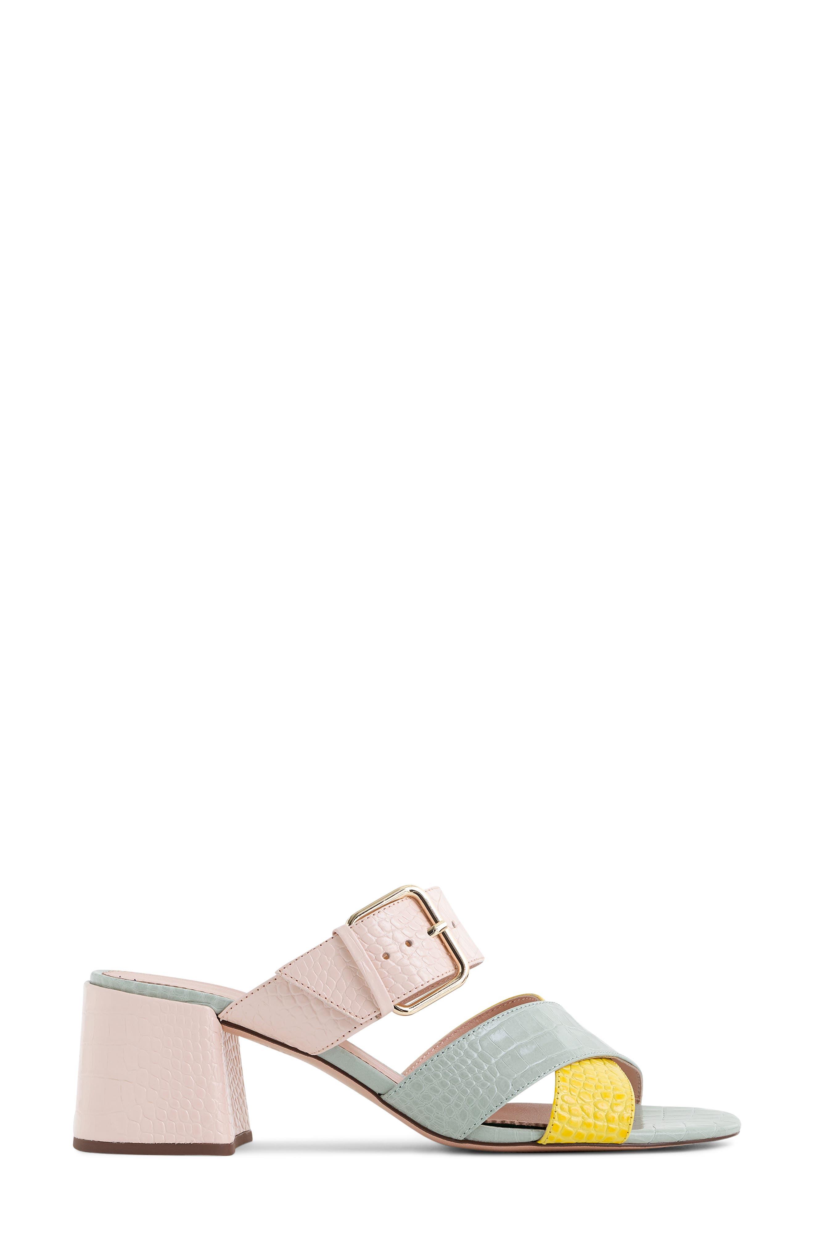 Penny Colorblock Faux Croc Slide Sandal,                             Alternate thumbnail 2, color,                             BRIGHT YOLK SUEDE