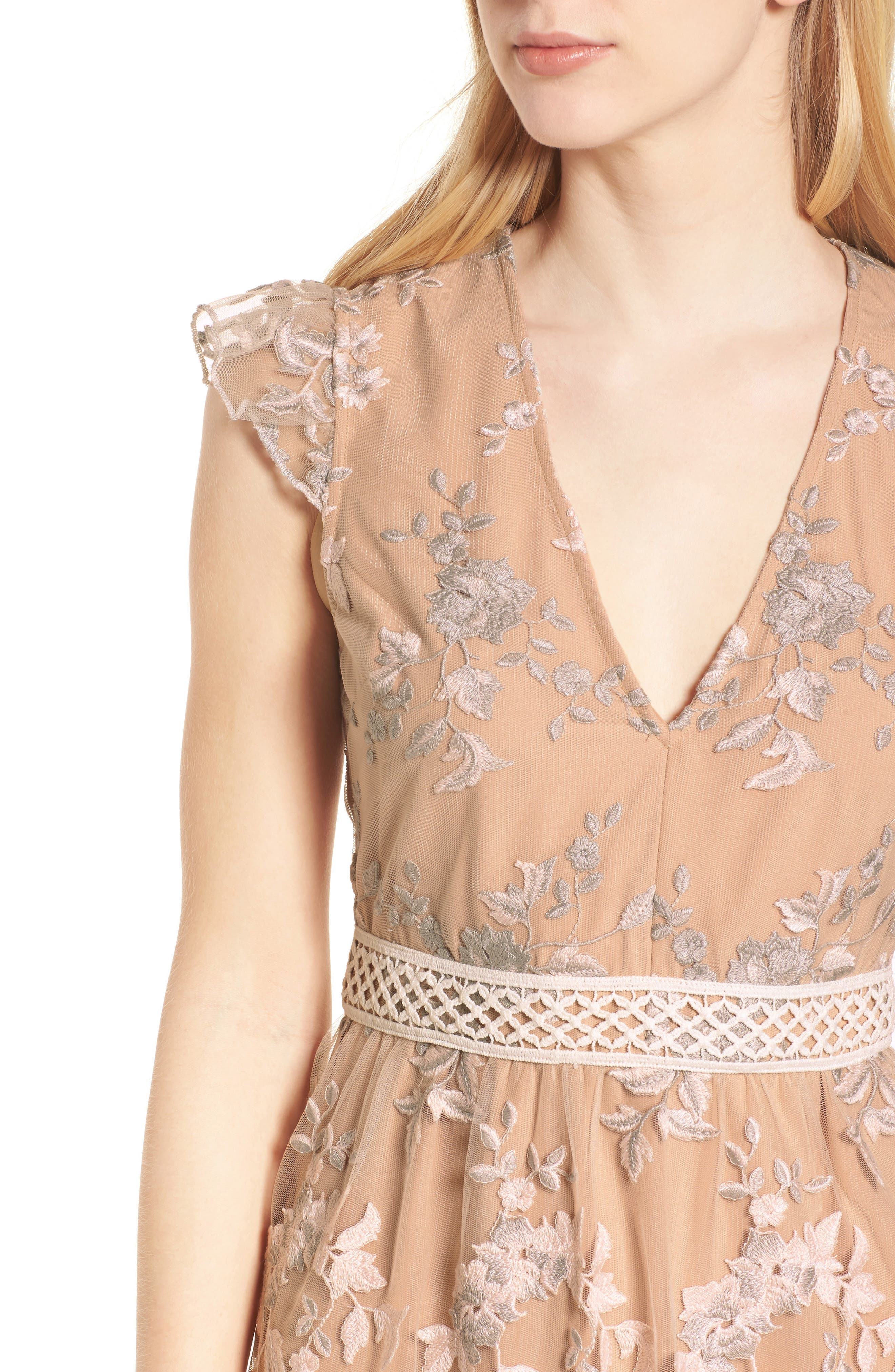 Oakfield Embroidered Minidress,                             Alternate thumbnail 4, color,                             650