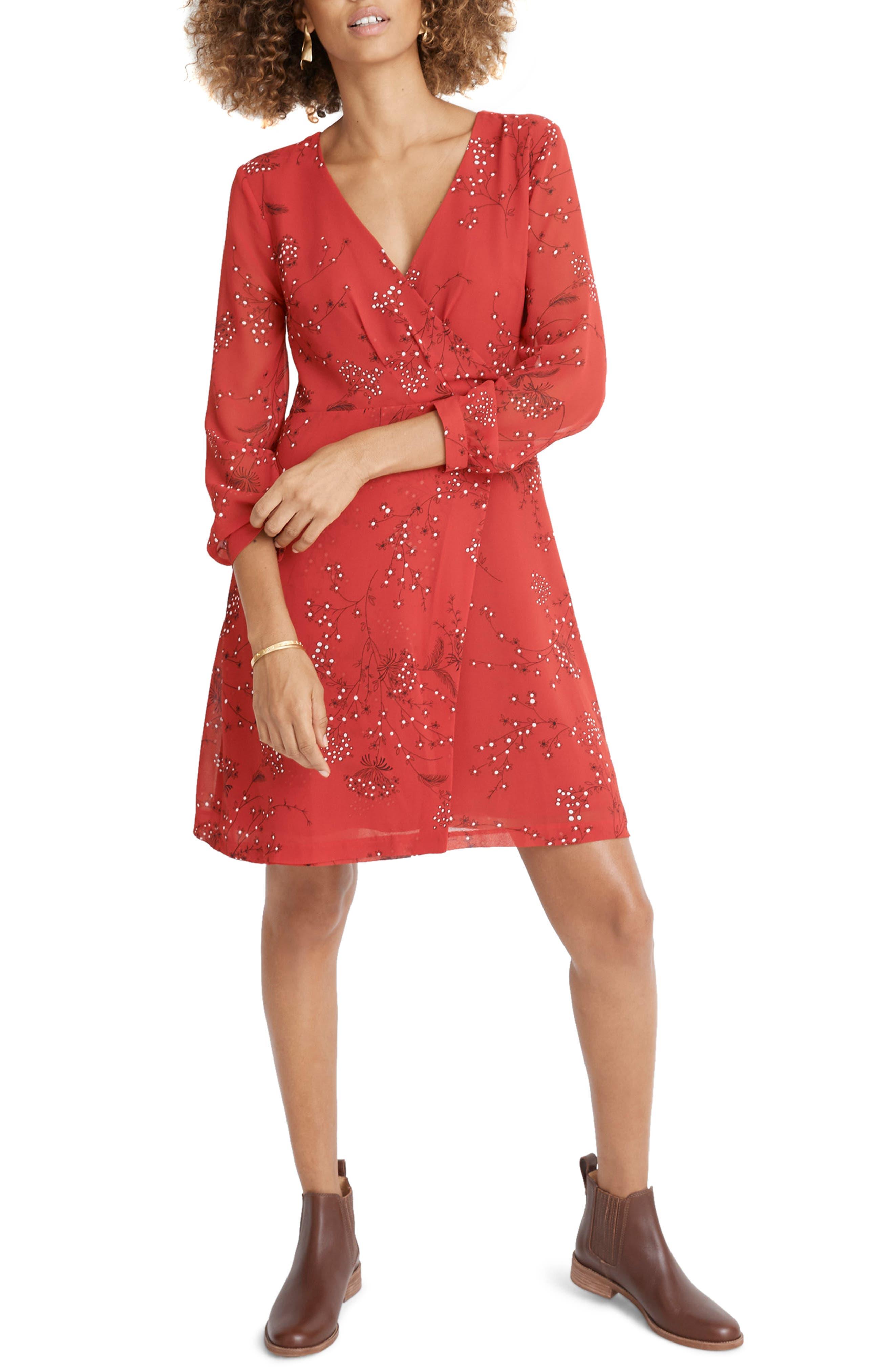 Madewell Hazelwood Faux Wrap Minidress, Red