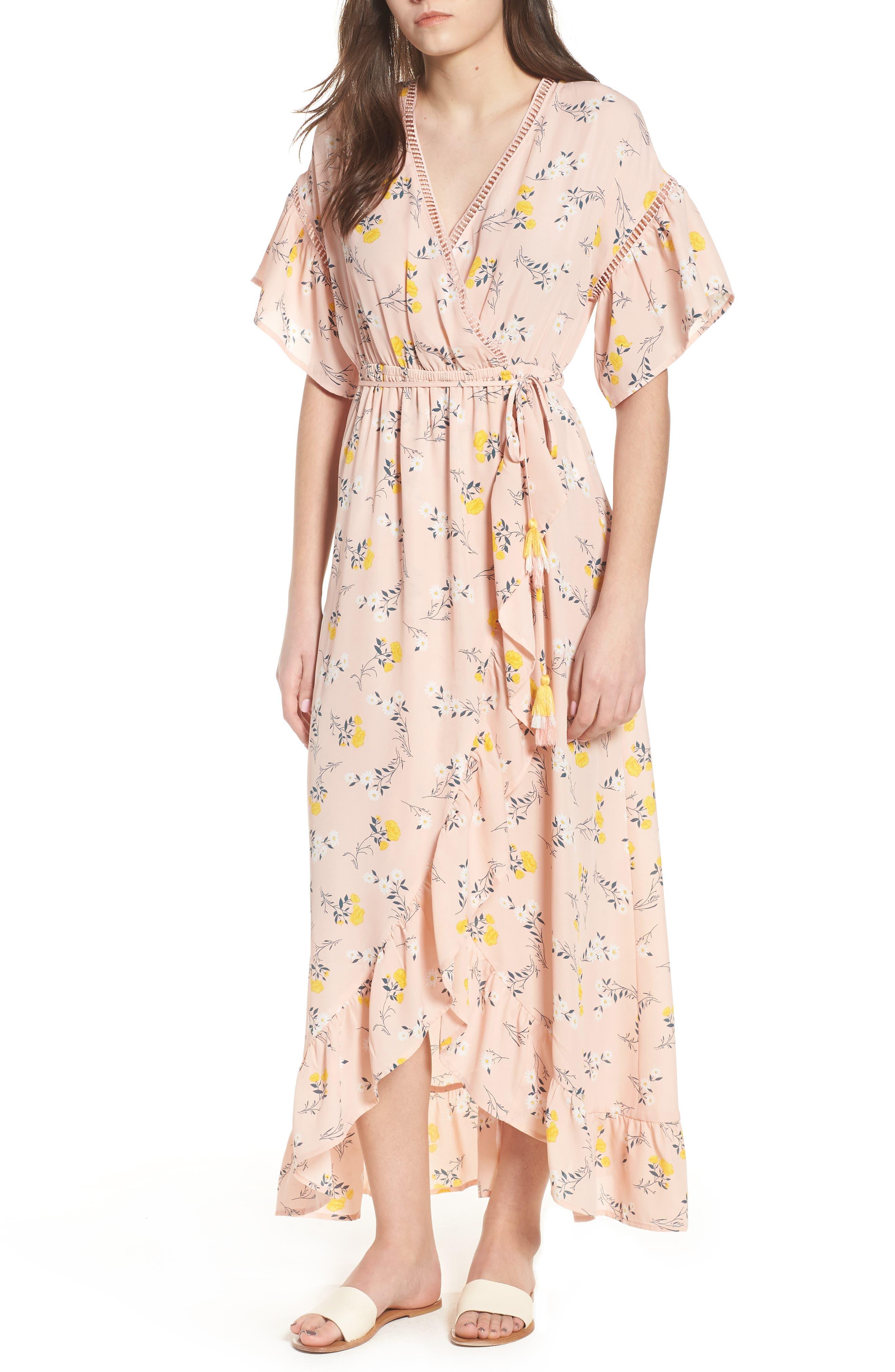 Romance Floral Wrap Style Dress,                         Main,                         color, 650