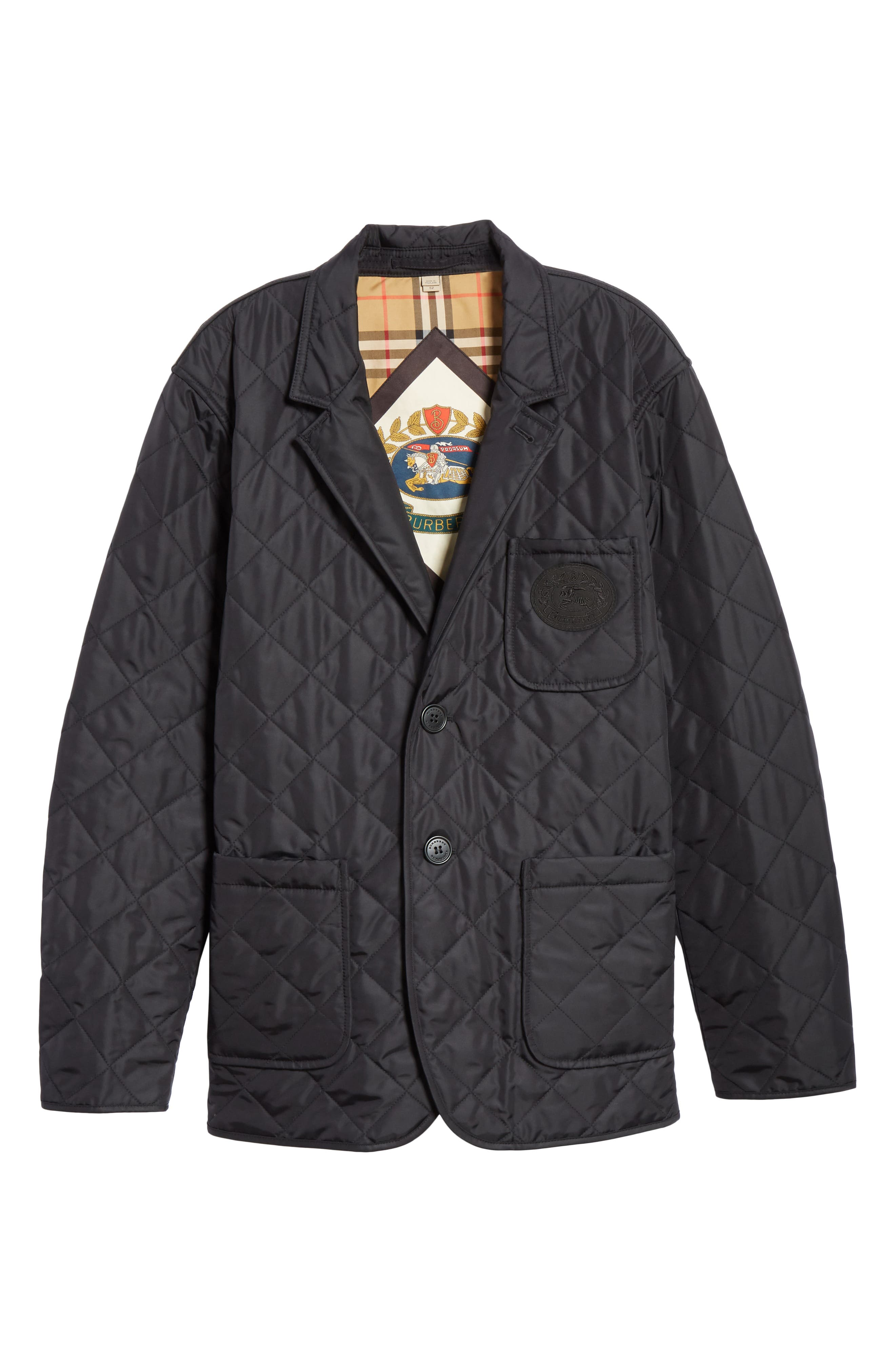 Clifton Quilted Blazer,                             Alternate thumbnail 5, color,                             BLACK