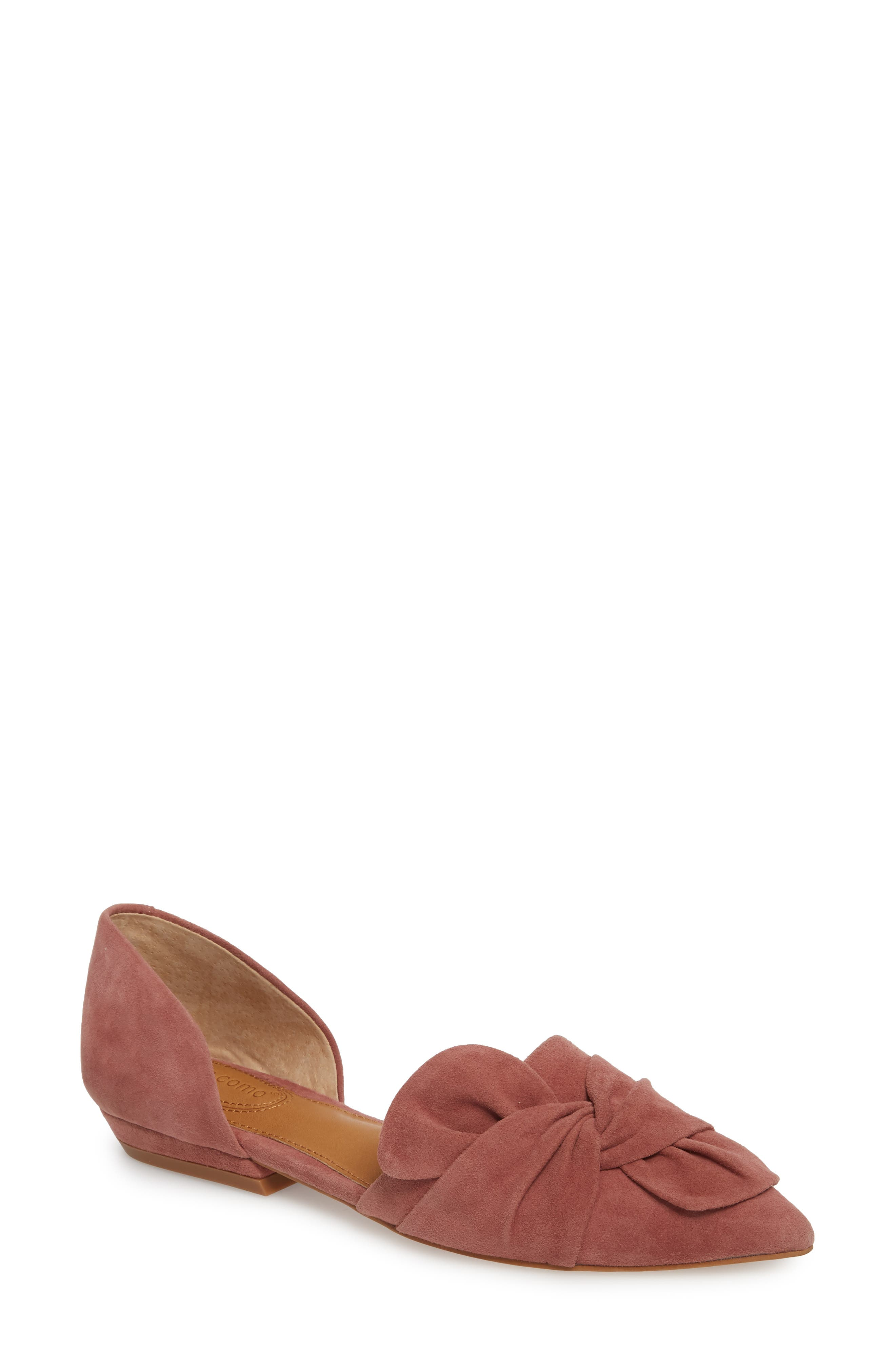 Mollie d'Orsay Flat,                             Main thumbnail 1, color,                             OLD ROSE SUEDE