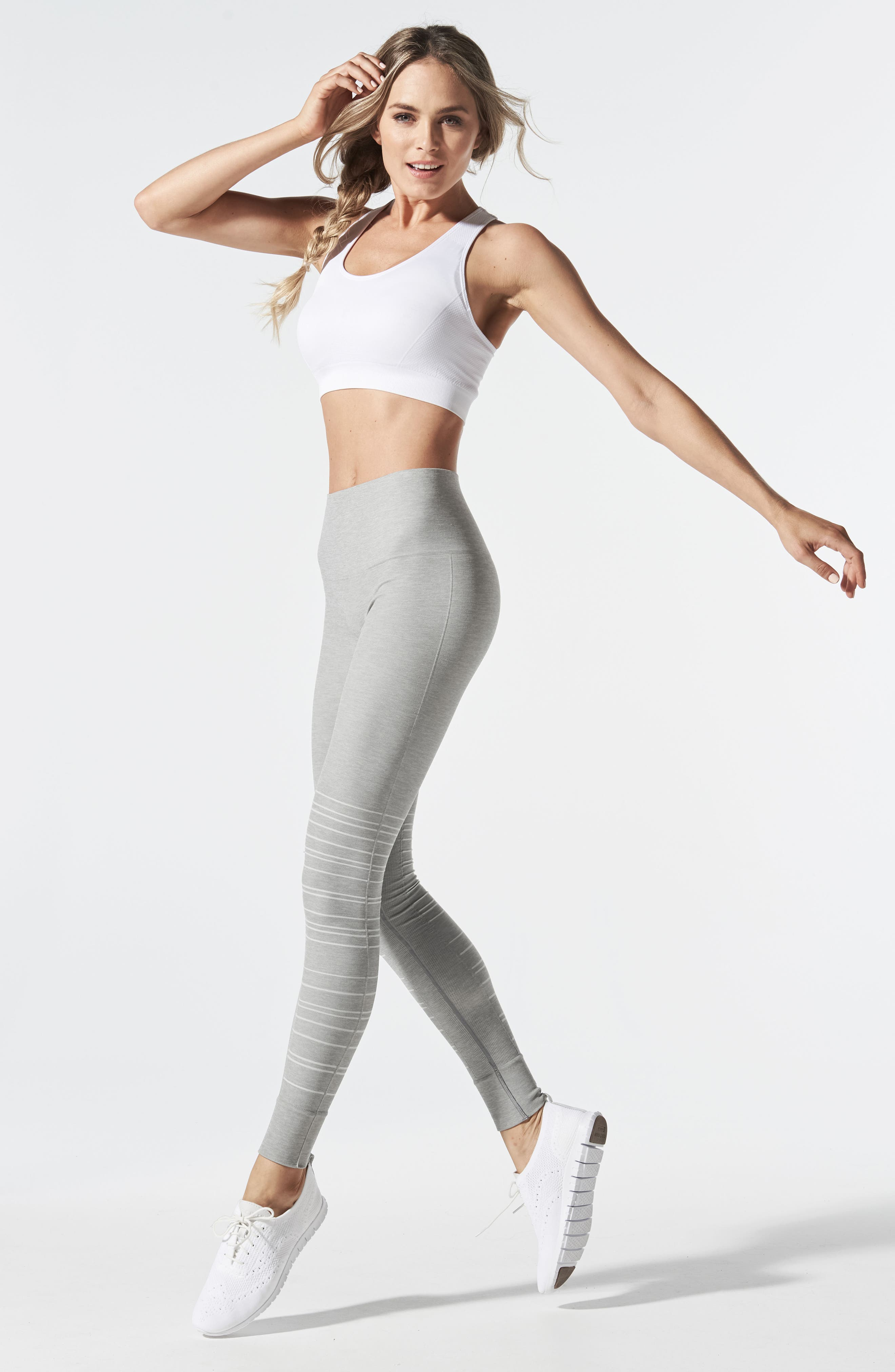 SportSupport<sup>®</sup> Hipster Cuffed Support Maternity/Postpartum Leggings,                             Alternate thumbnail 5, color,                             DOVE GREY