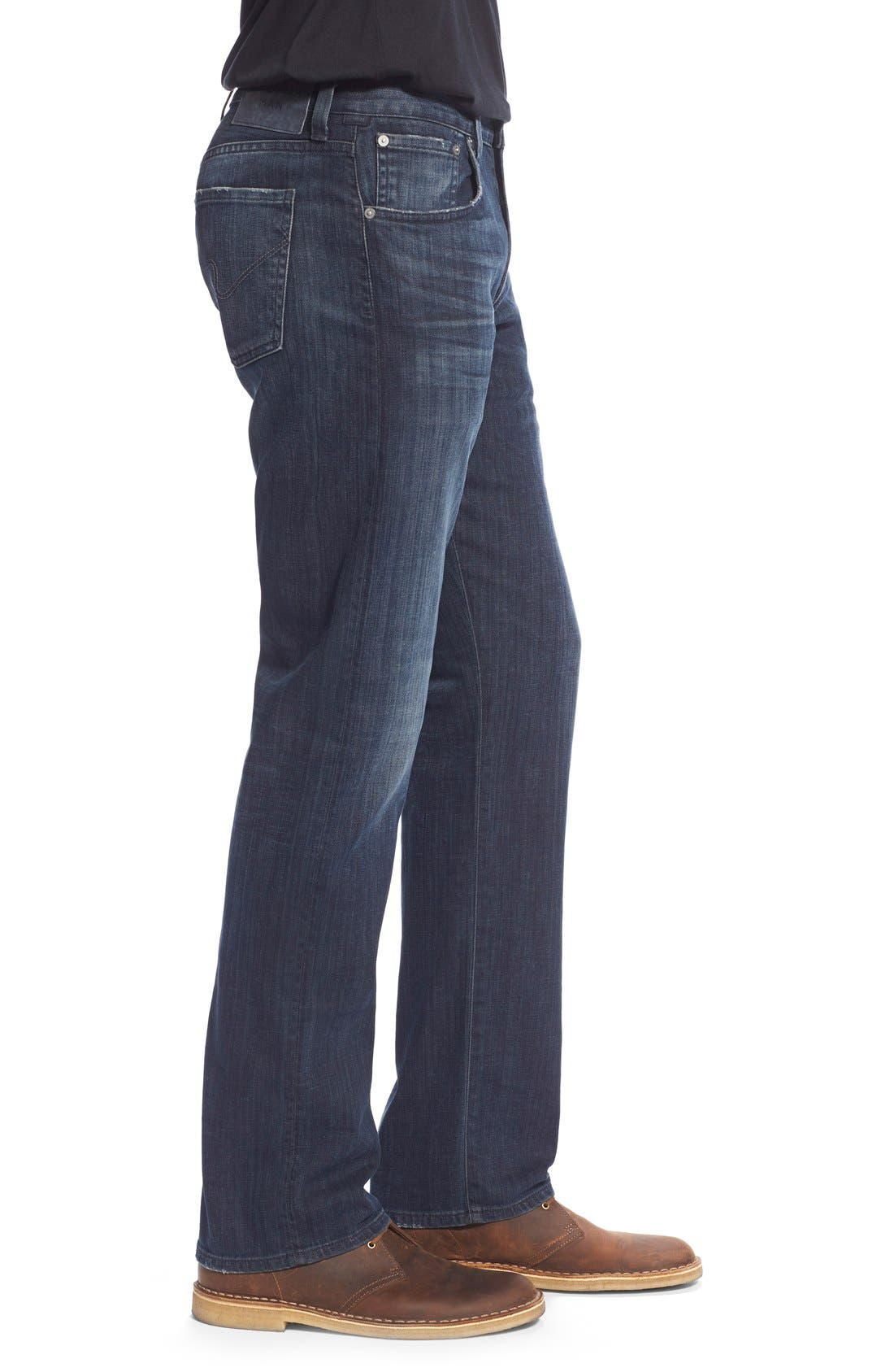 Perfect Relaxed Straight Leg Jeans,                             Alternate thumbnail 4, color,                             GUITAR