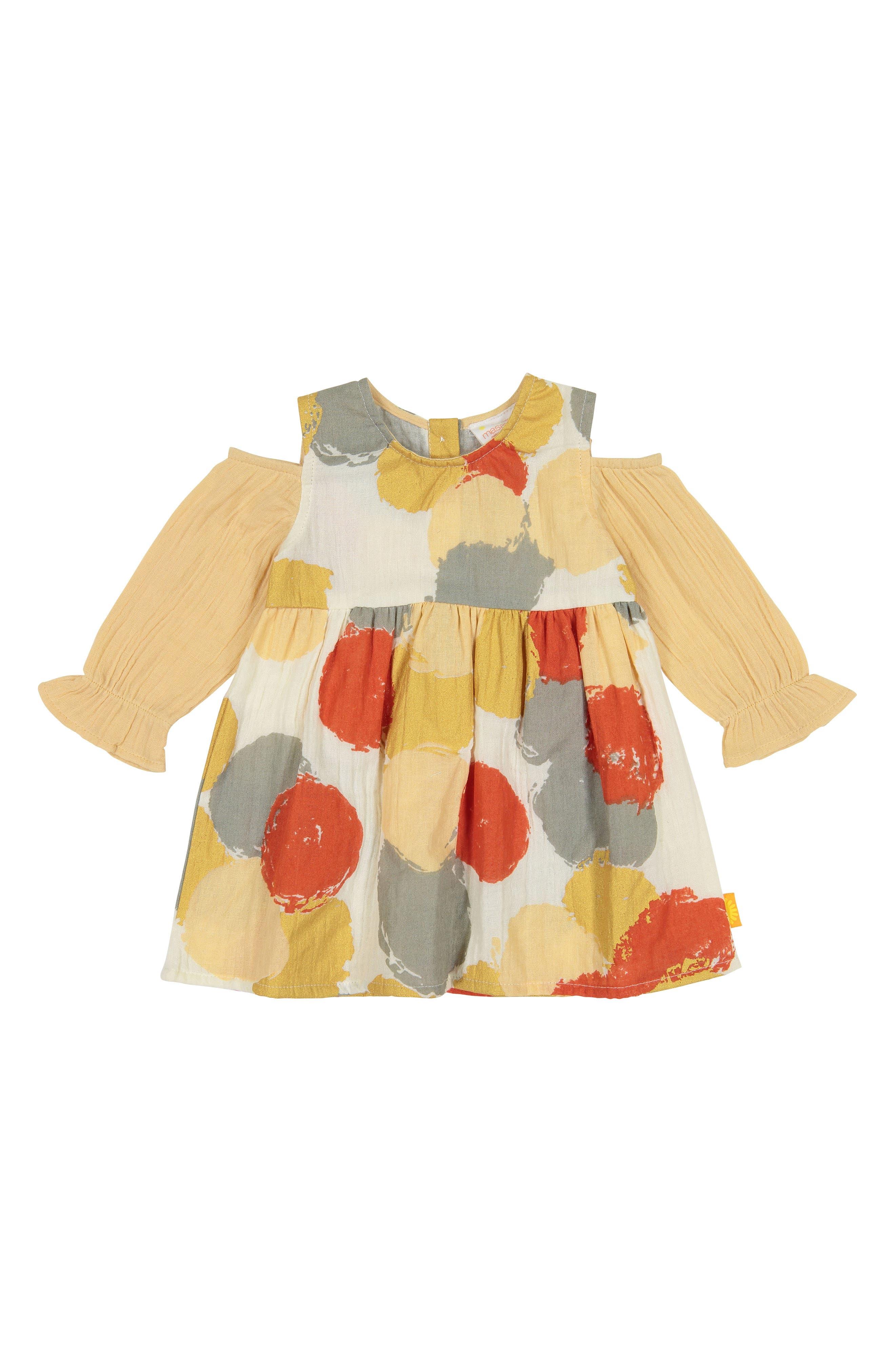 Layla Cold Shoulder Organic Cotton Dress,                         Main,                         color, MULTI