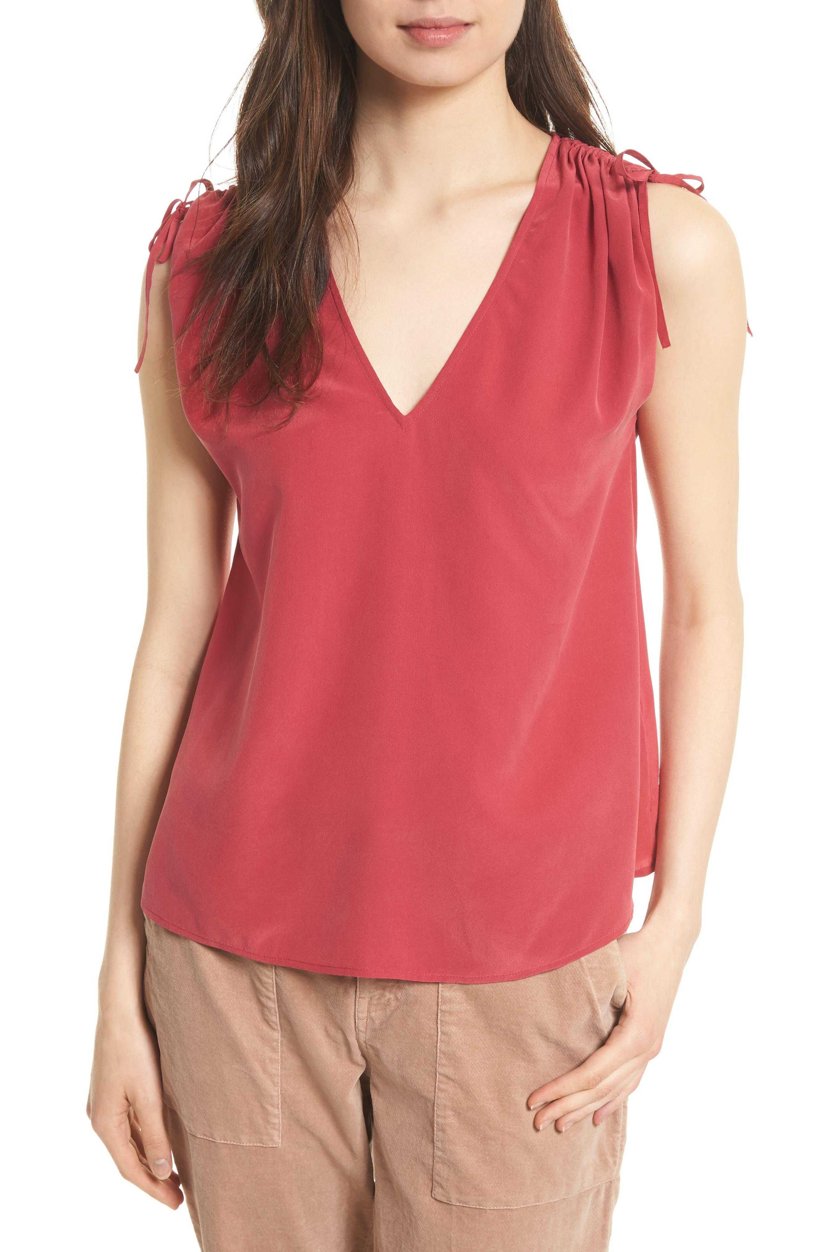 Alisha Tie Shoulder Silk Top,                         Main,                         color,