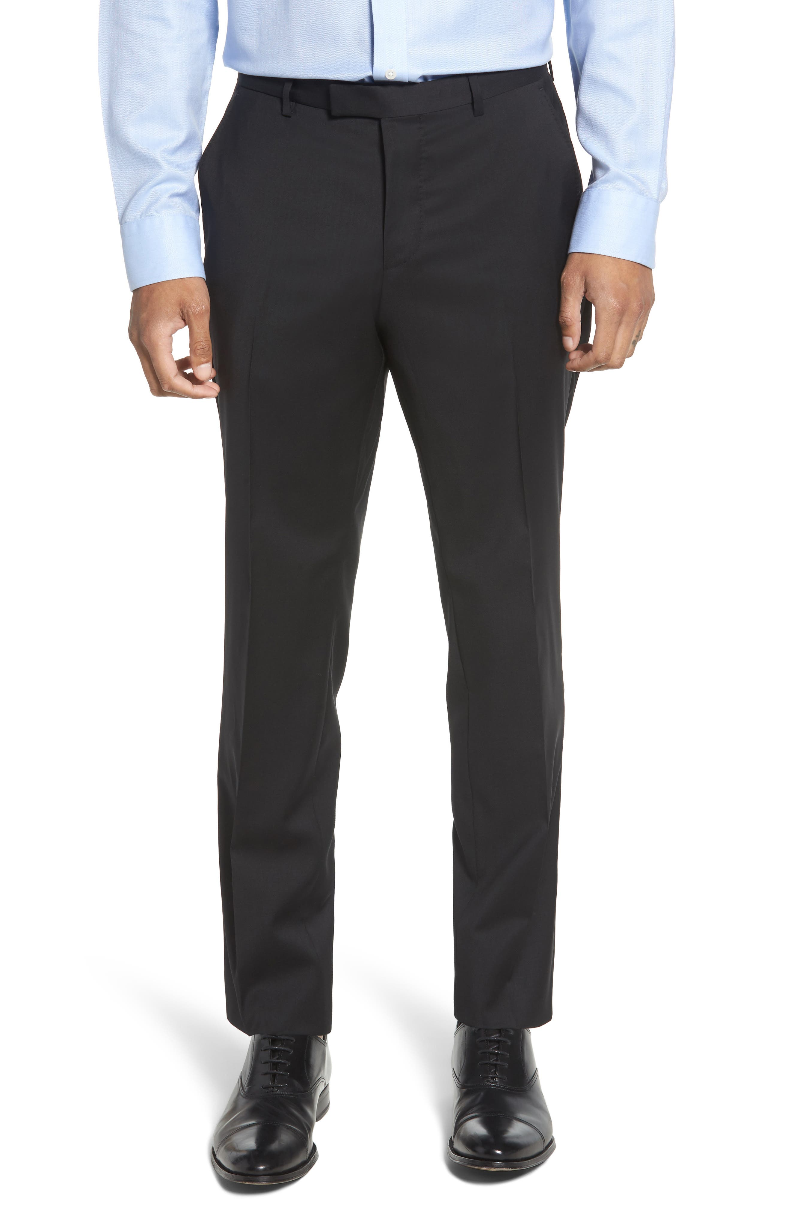 Leenon Flat Front Regular Fit Solid Wool Trousers,                             Main thumbnail 1, color,                             BLACK