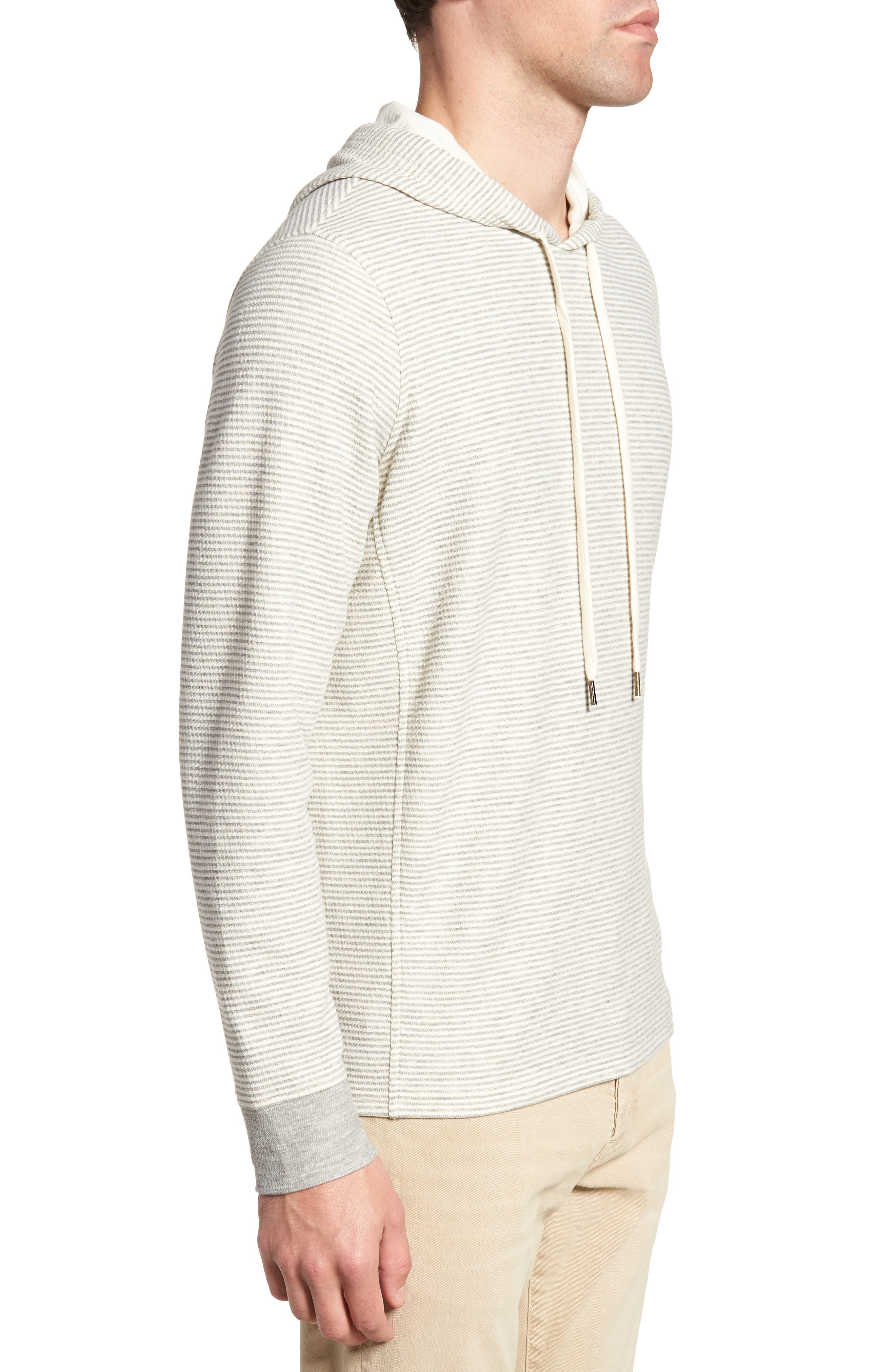 Cotton Blend Hoodie,                             Alternate thumbnail 3, color,                             GREY/ NATURAL