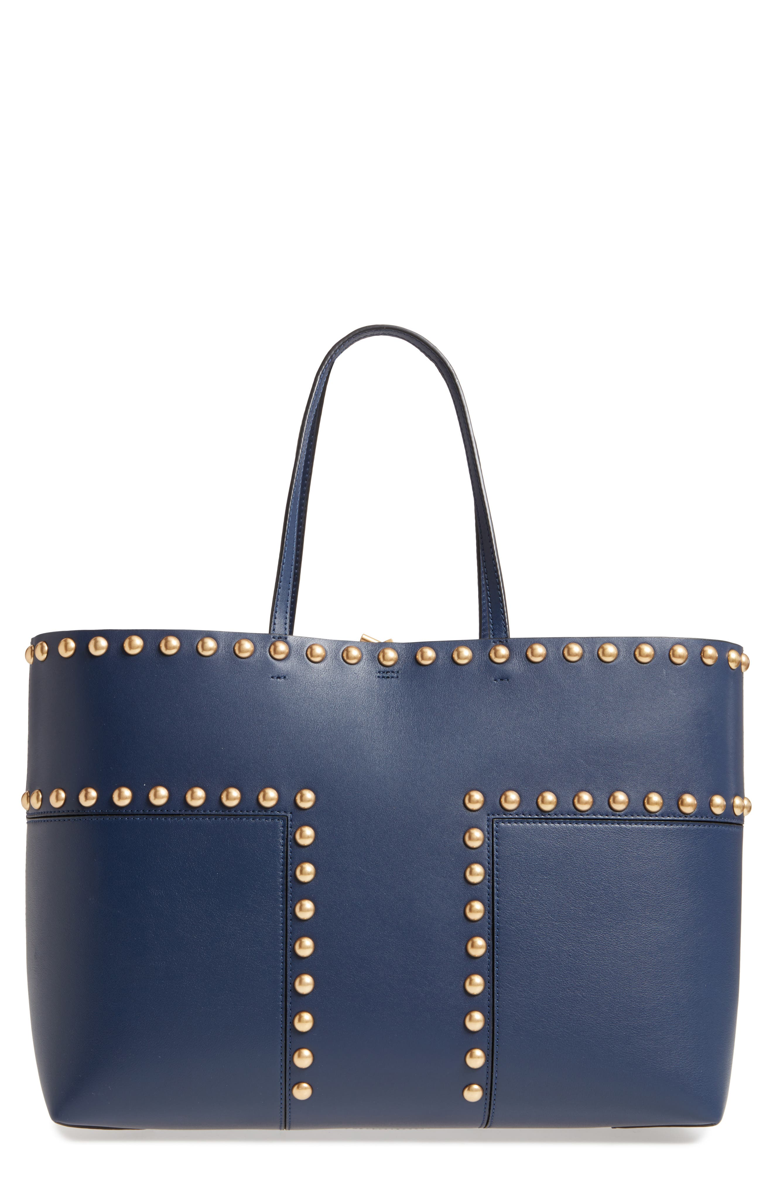 Block-T Studded Leather Tote,                             Main thumbnail 2, color,