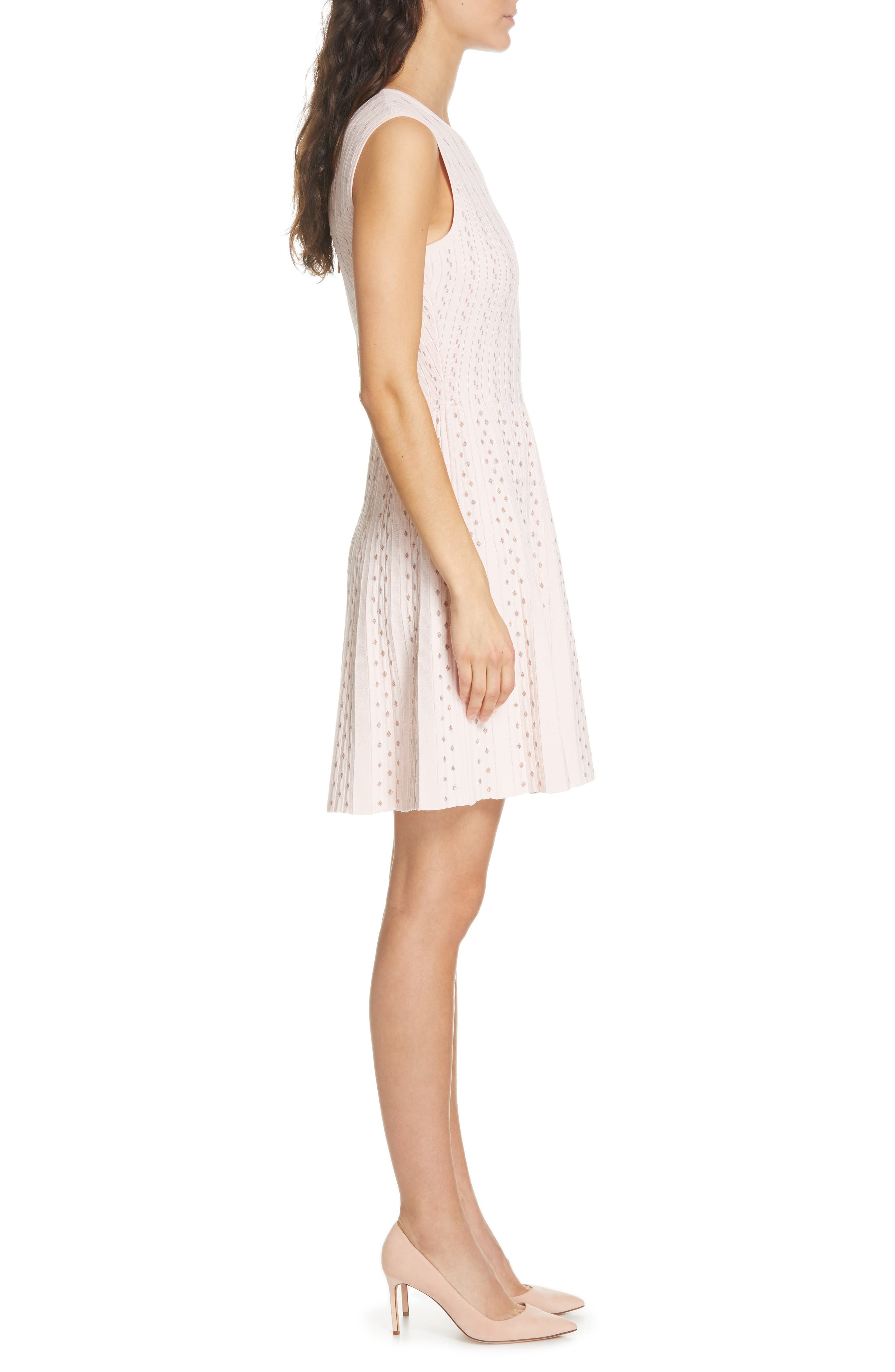 Vellia Flippy Knit Skater Dress,                             Alternate thumbnail 3, color,                             PALE PINK