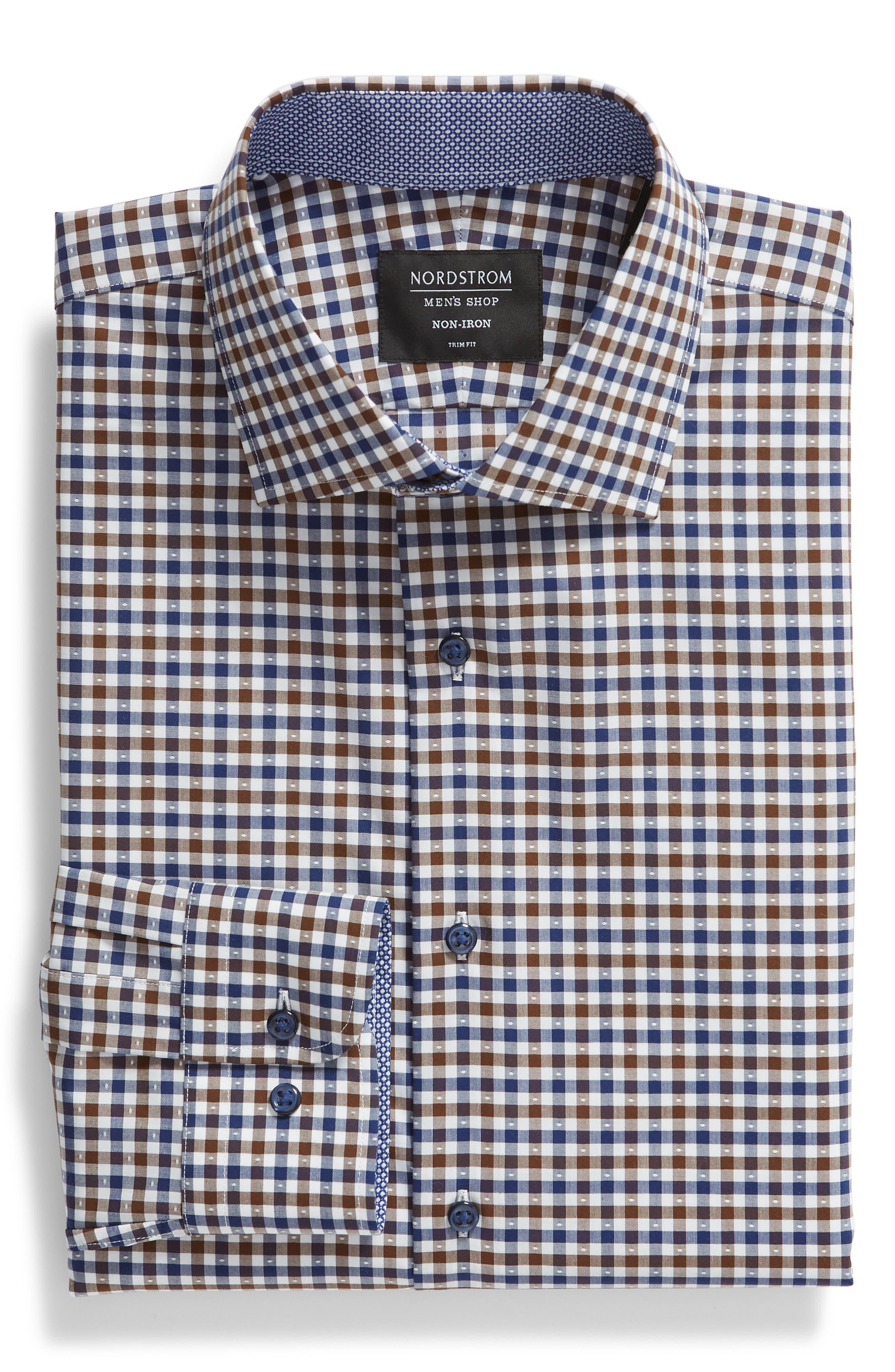 NORDSTROM MEN'S SHOP,                             Trim Fit Non-Iron Check Dress Shirt,                             Alternate thumbnail 5, color,                             BROWN FAWN