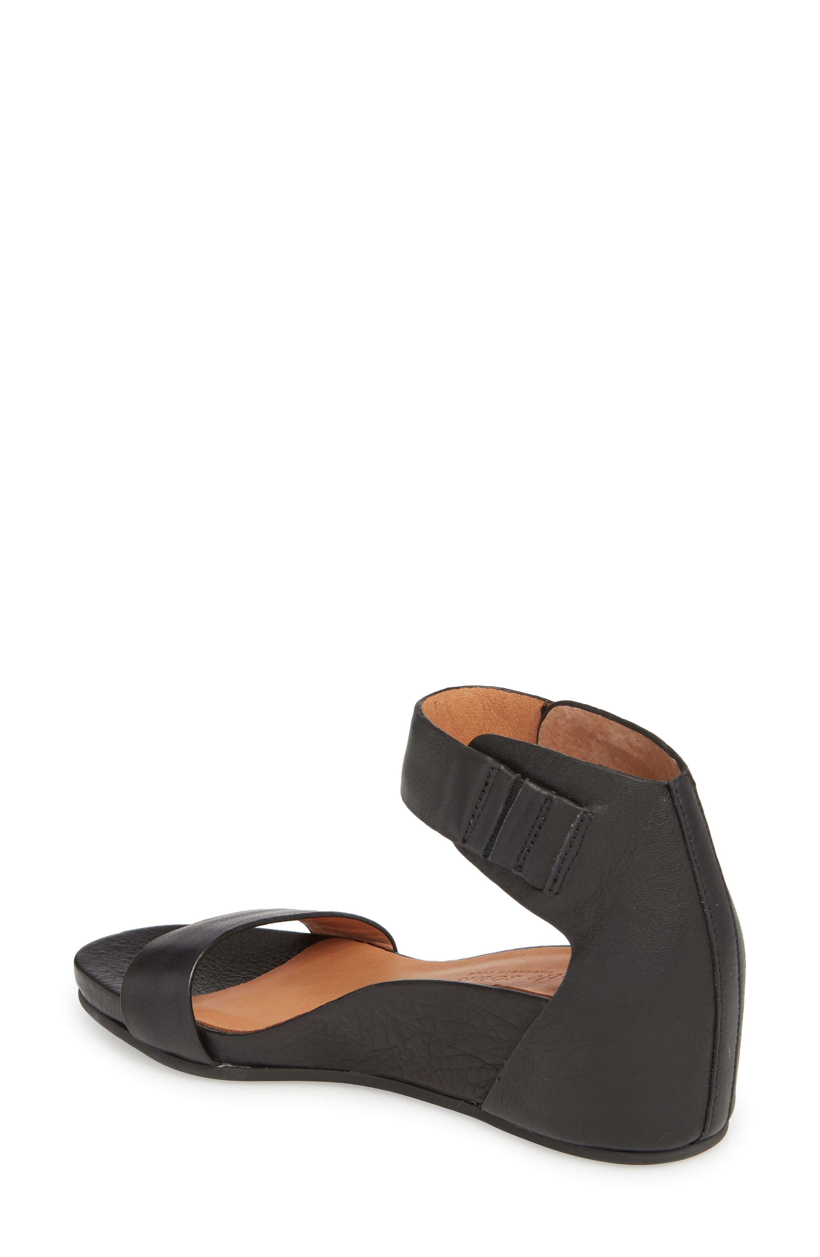 by Kenneth Cole Gianna Wedge Sandal,                             Alternate thumbnail 2, color,                             BLACK LEATHER