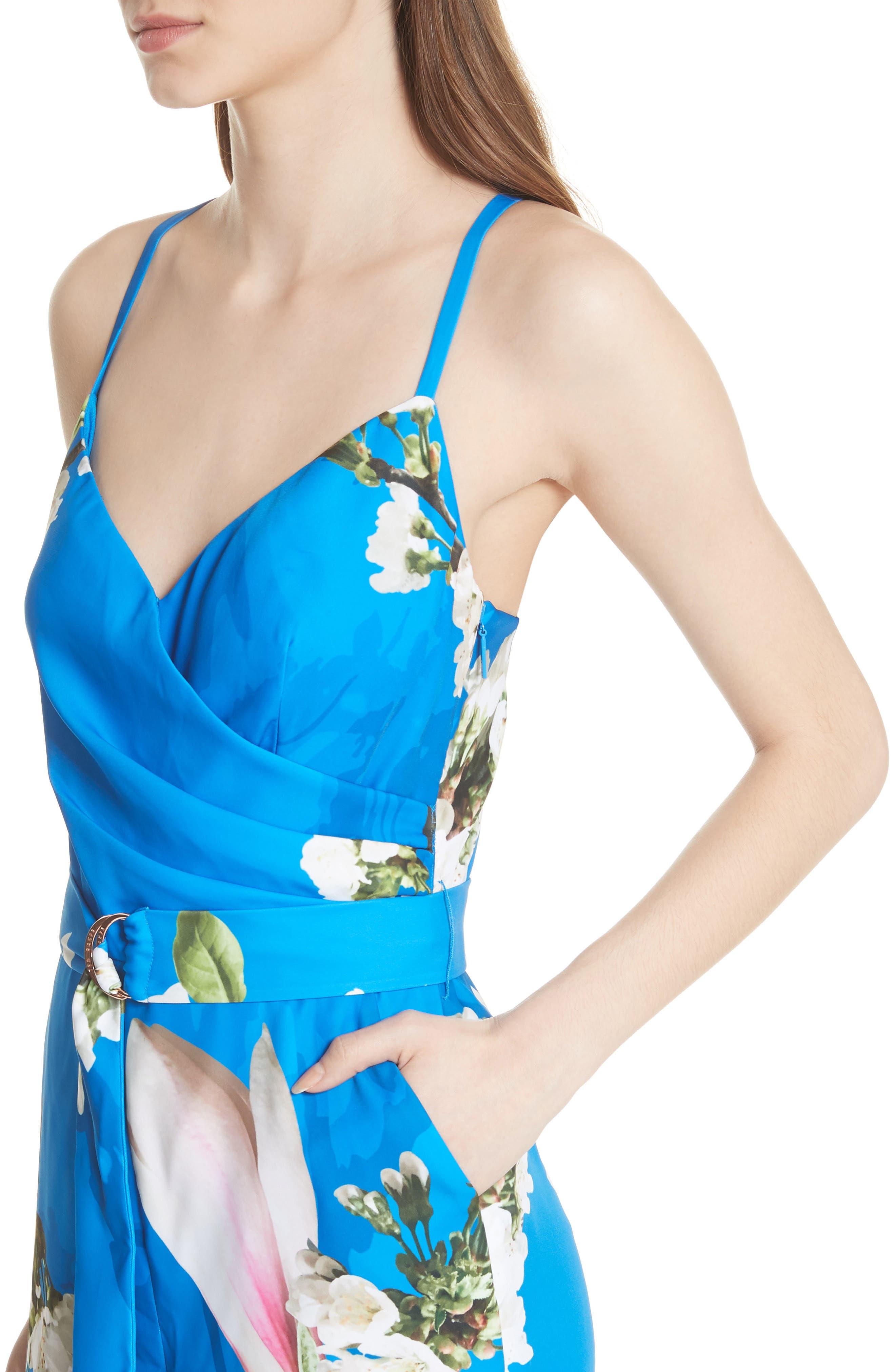 Harmony Wrap Front Floral Jumpsuit,                             Alternate thumbnail 4, color,                             430