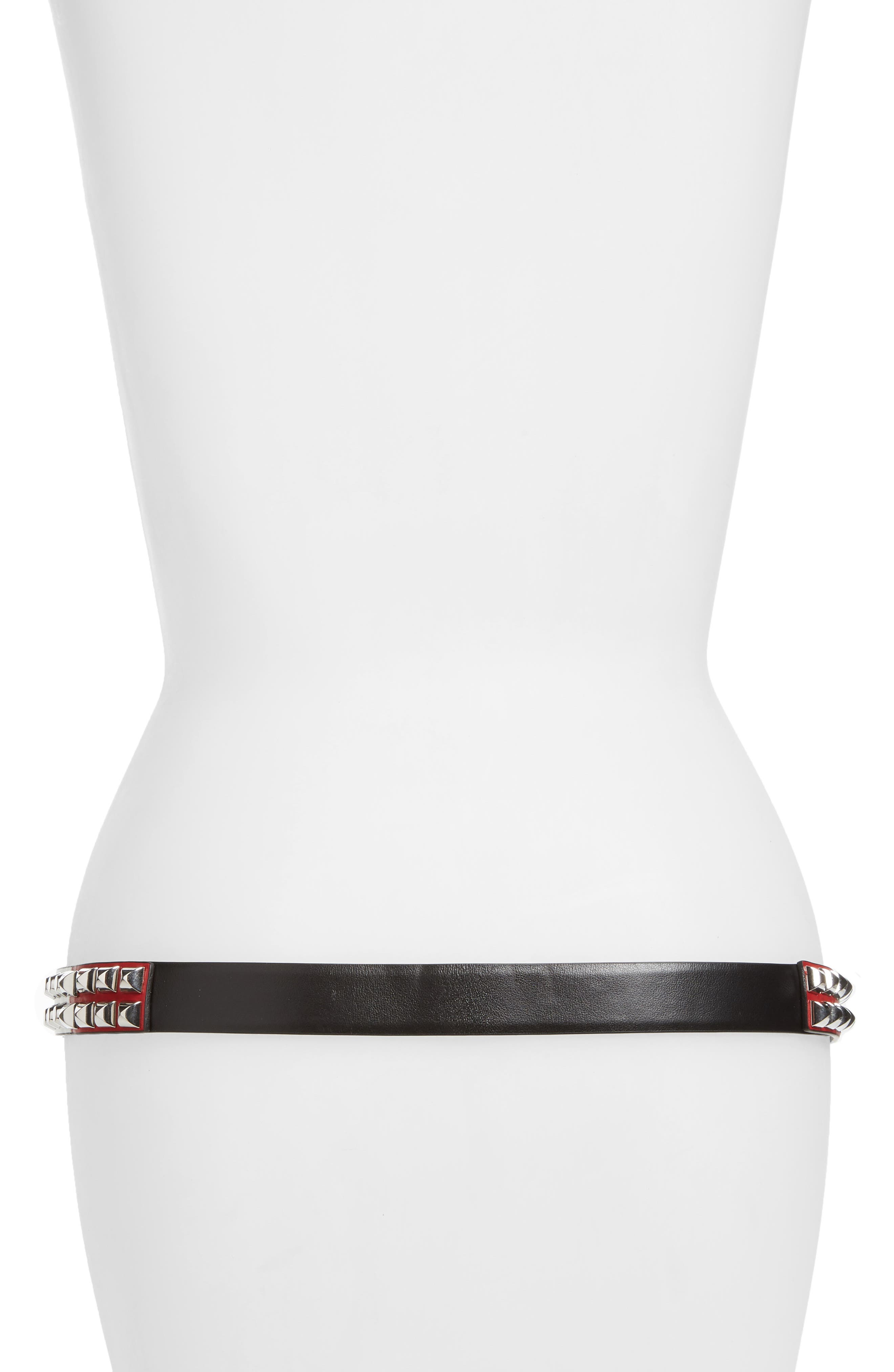 Studded Tricolor Leather Belt,                             Alternate thumbnail 2, color,                             NERO/ BIANCO/ FUOCO