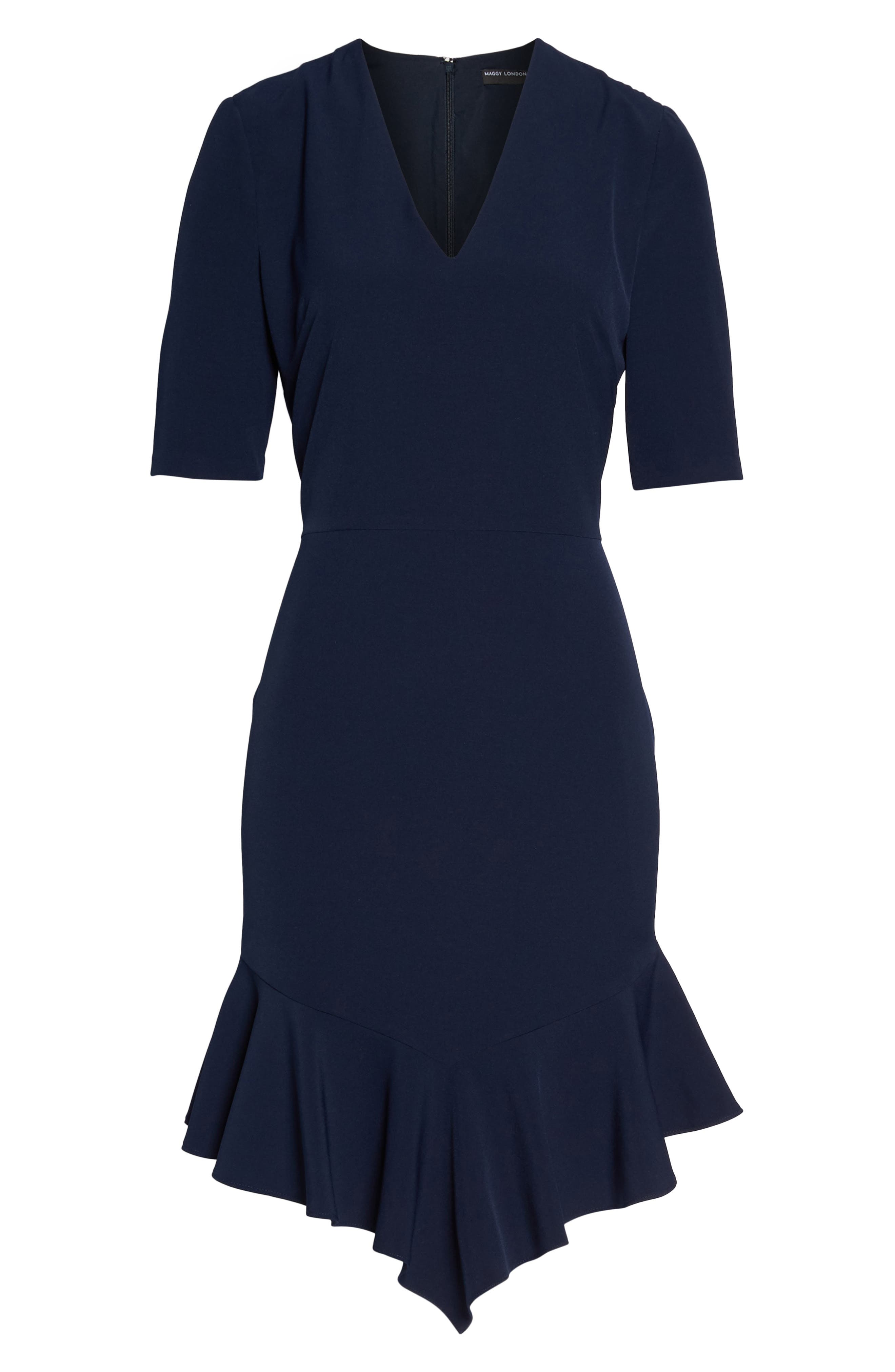 Flounce Hem Sheath Dress,                             Alternate thumbnail 7, color,                             NAVY