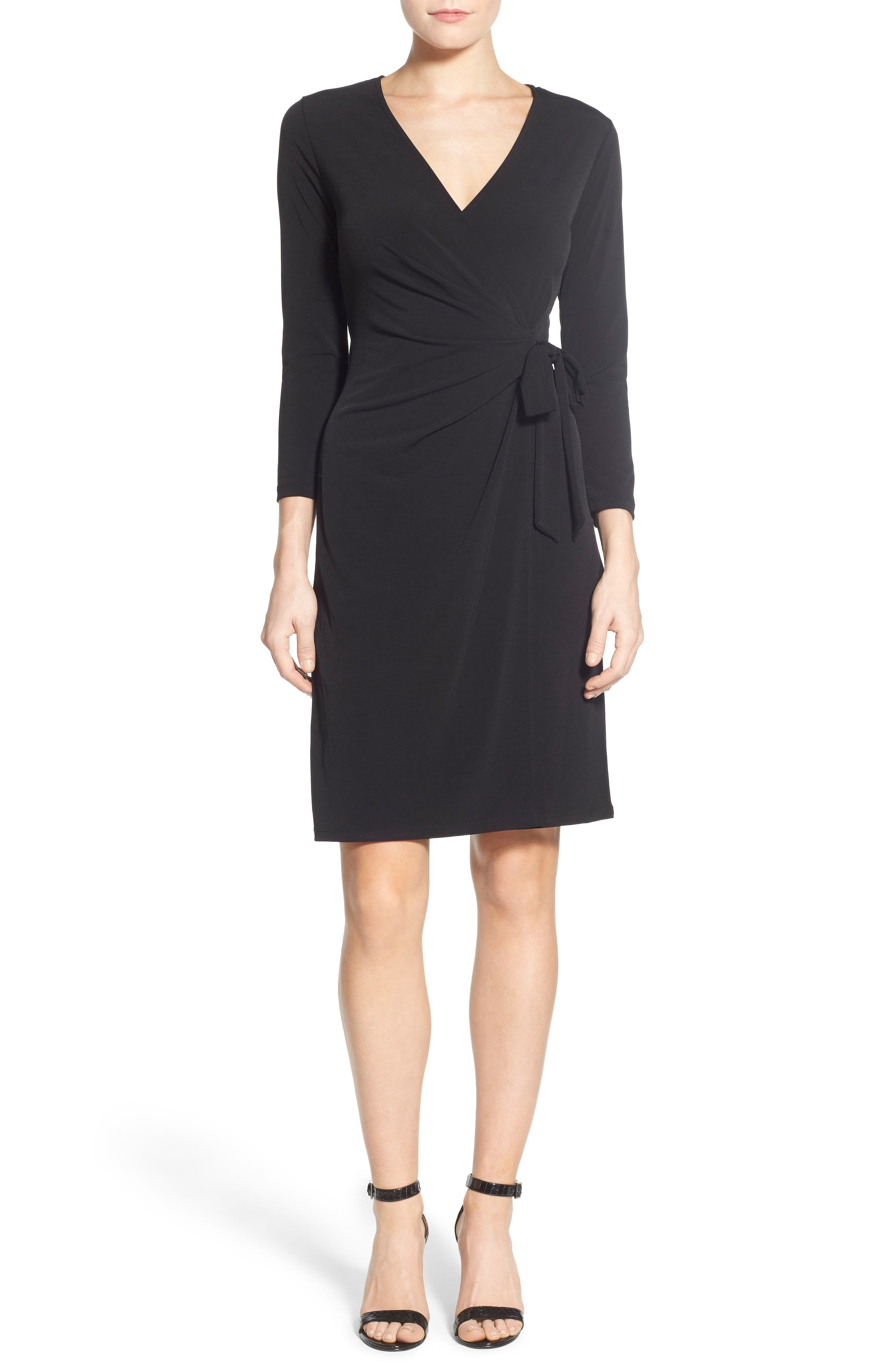 Faux Wrap Jersey Dress,                             Alternate thumbnail 6, color,                             BLACK