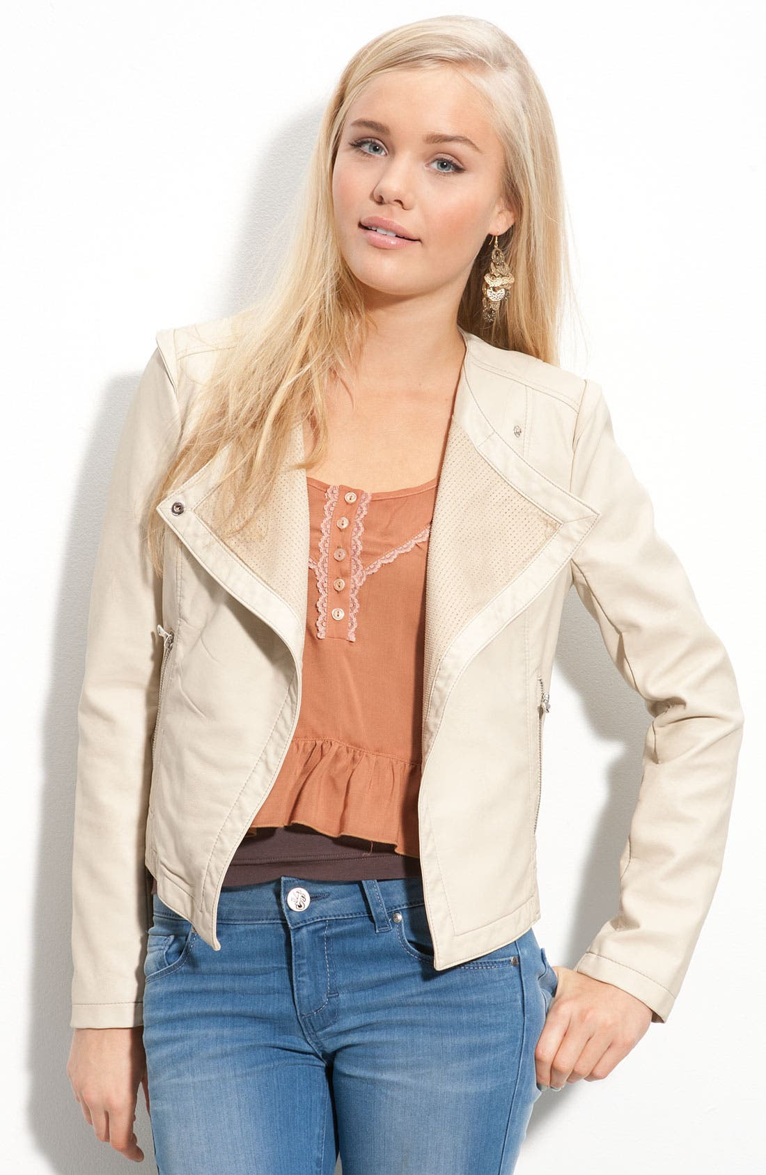 Faux Leather Asymmetrical Jacket,                             Main thumbnail 1, color,                             272