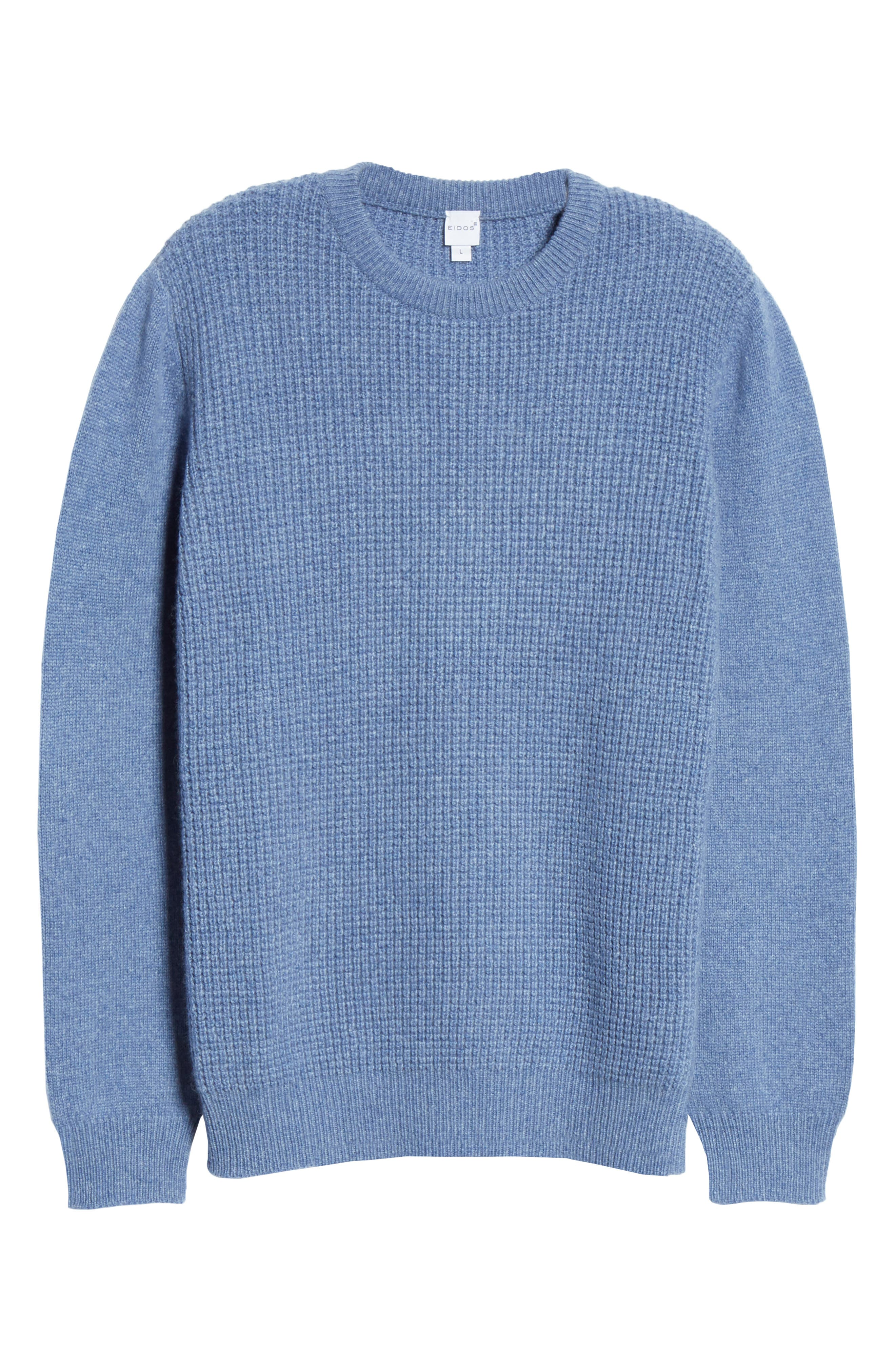 Waffle Knit Cashmere Crewneck Sweater,                             Alternate thumbnail 6, color,                             LIGHT BLUE