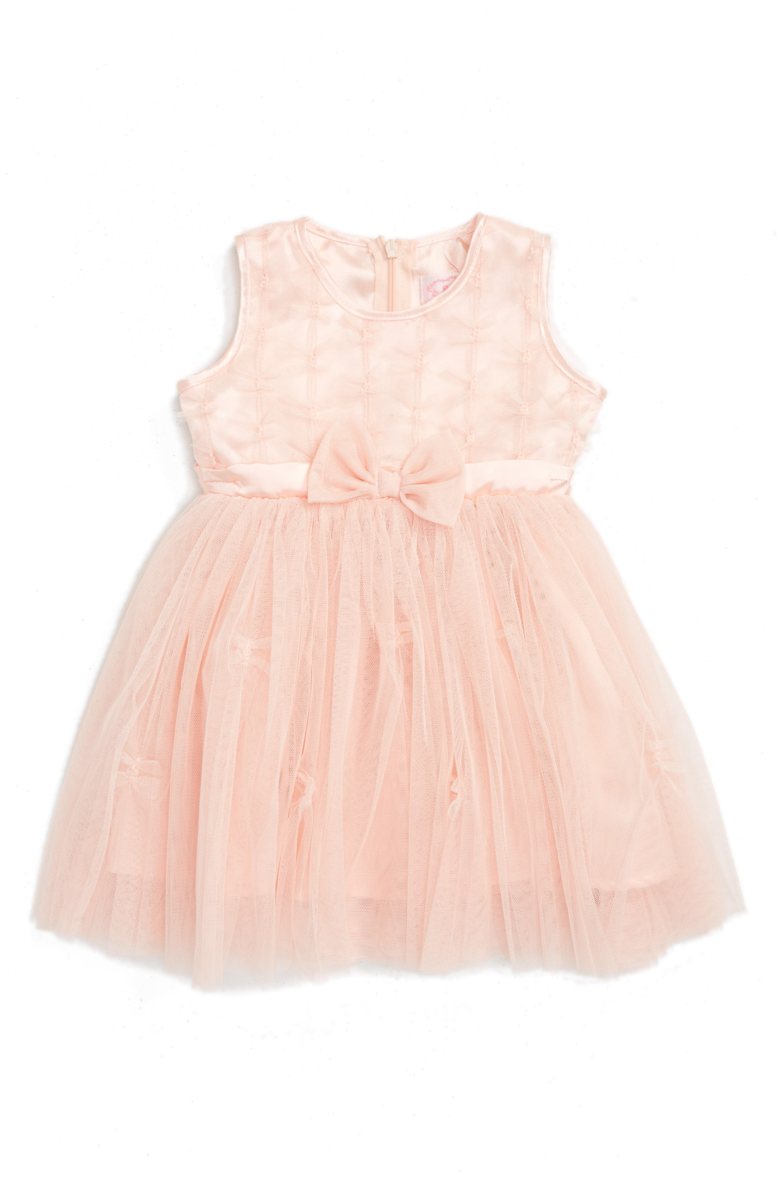Sleeveless Tulle Dress,                         Main,                         color, PEACH