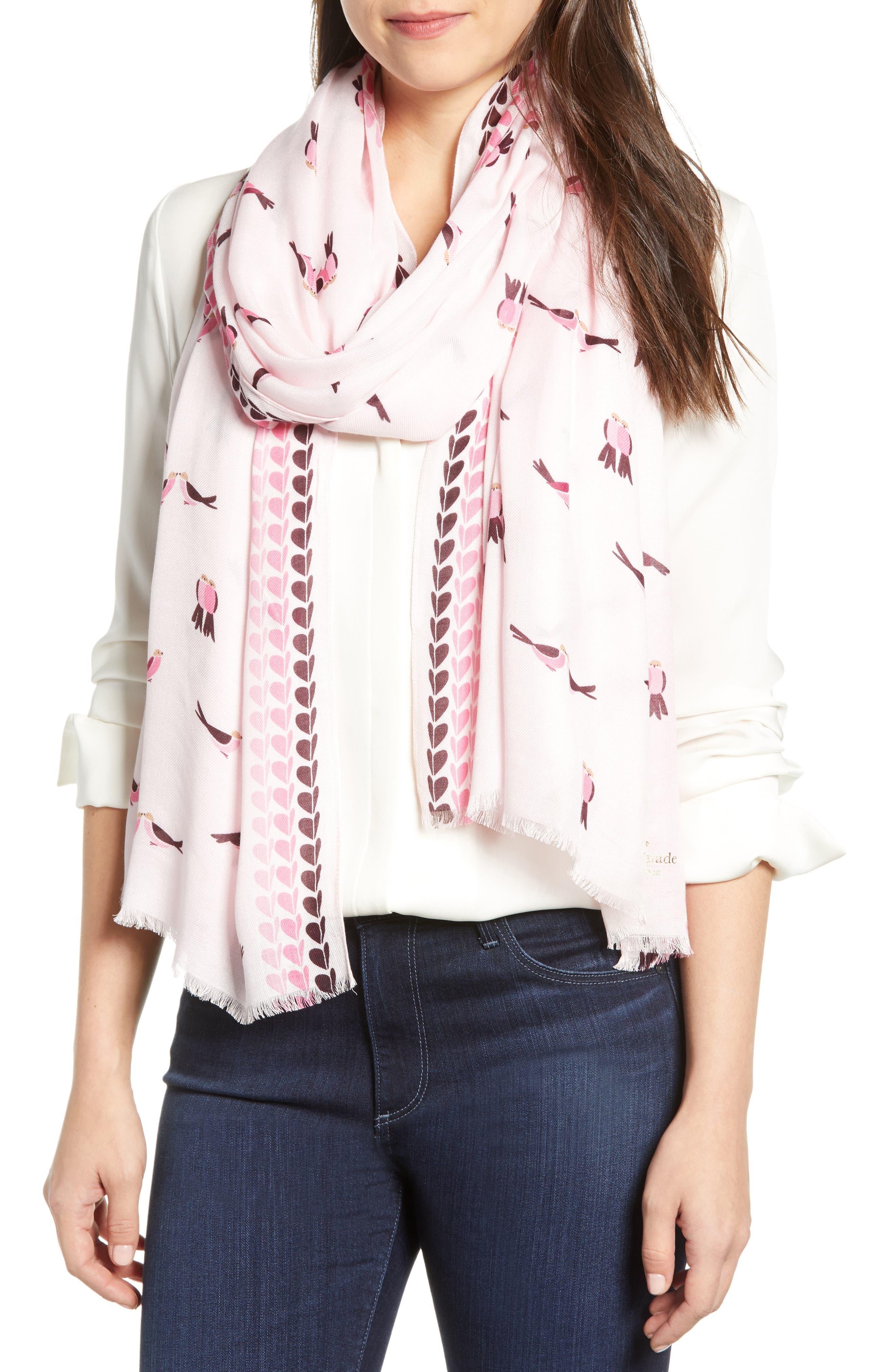 KATE SPADE NEW YORK,                             lovebirds scarf,                             Main thumbnail 1, color,                             PINK MAJOLICA